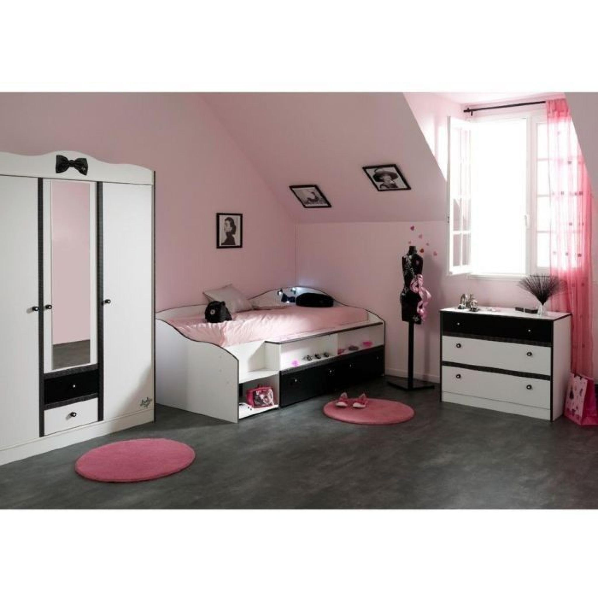 pretty chambre compl te enfant 90x190 blanc noir achat vente chambre complete pas cher. Black Bedroom Furniture Sets. Home Design Ideas