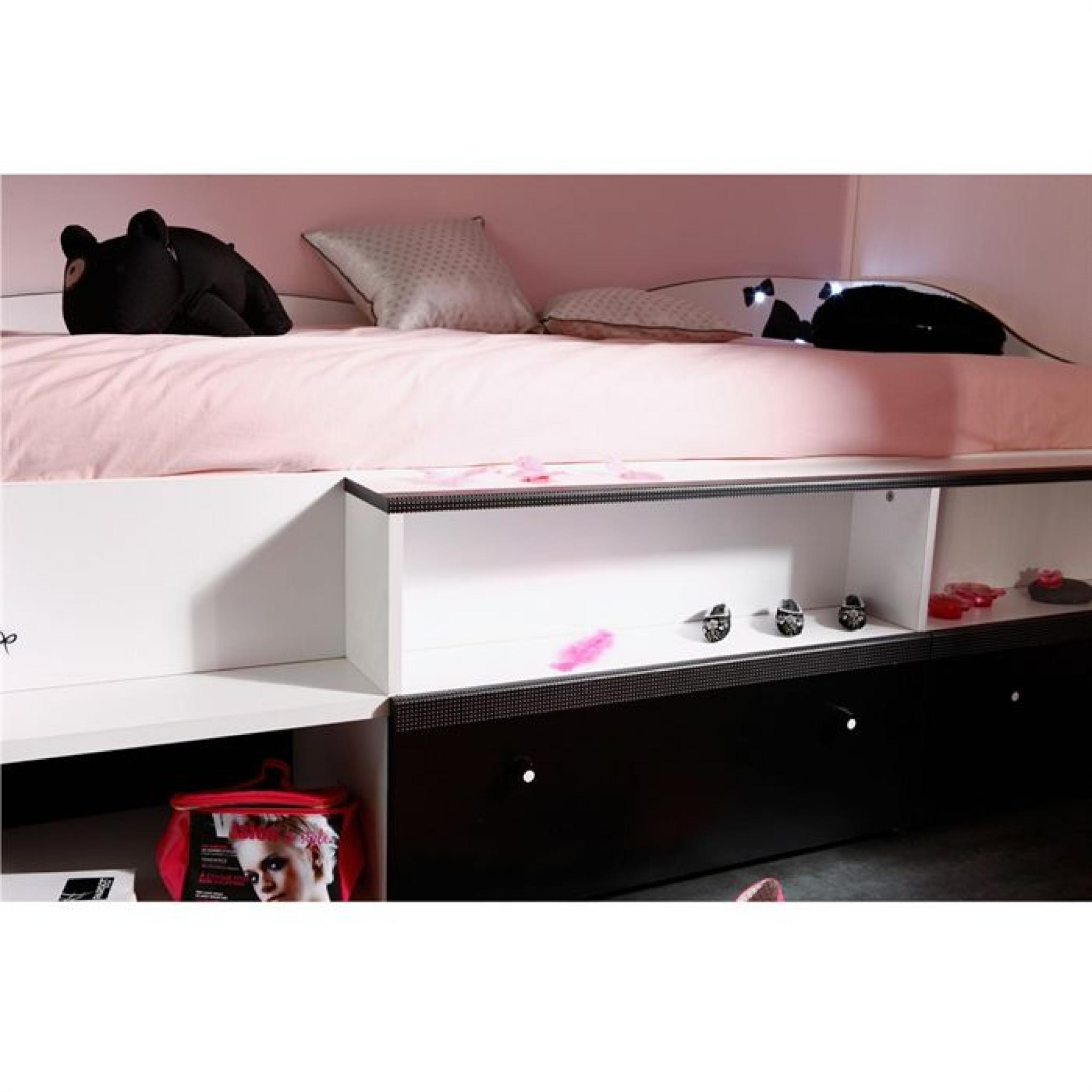 pretty lit enfant combin 90x190 blanc noir achat vente. Black Bedroom Furniture Sets. Home Design Ideas