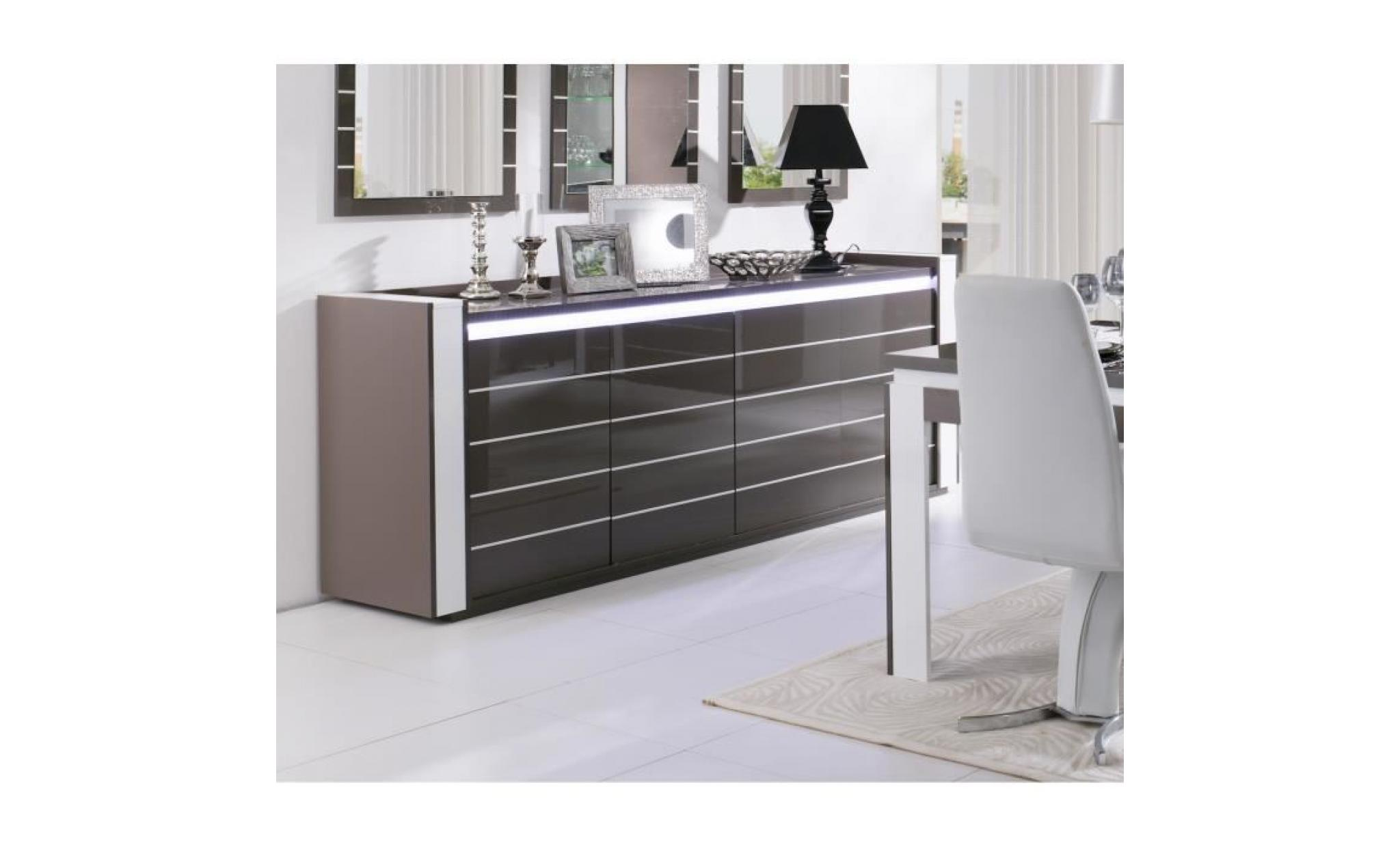 Price Factory Buffet Bahut Enfilade Lina Led Meuble Gris Et