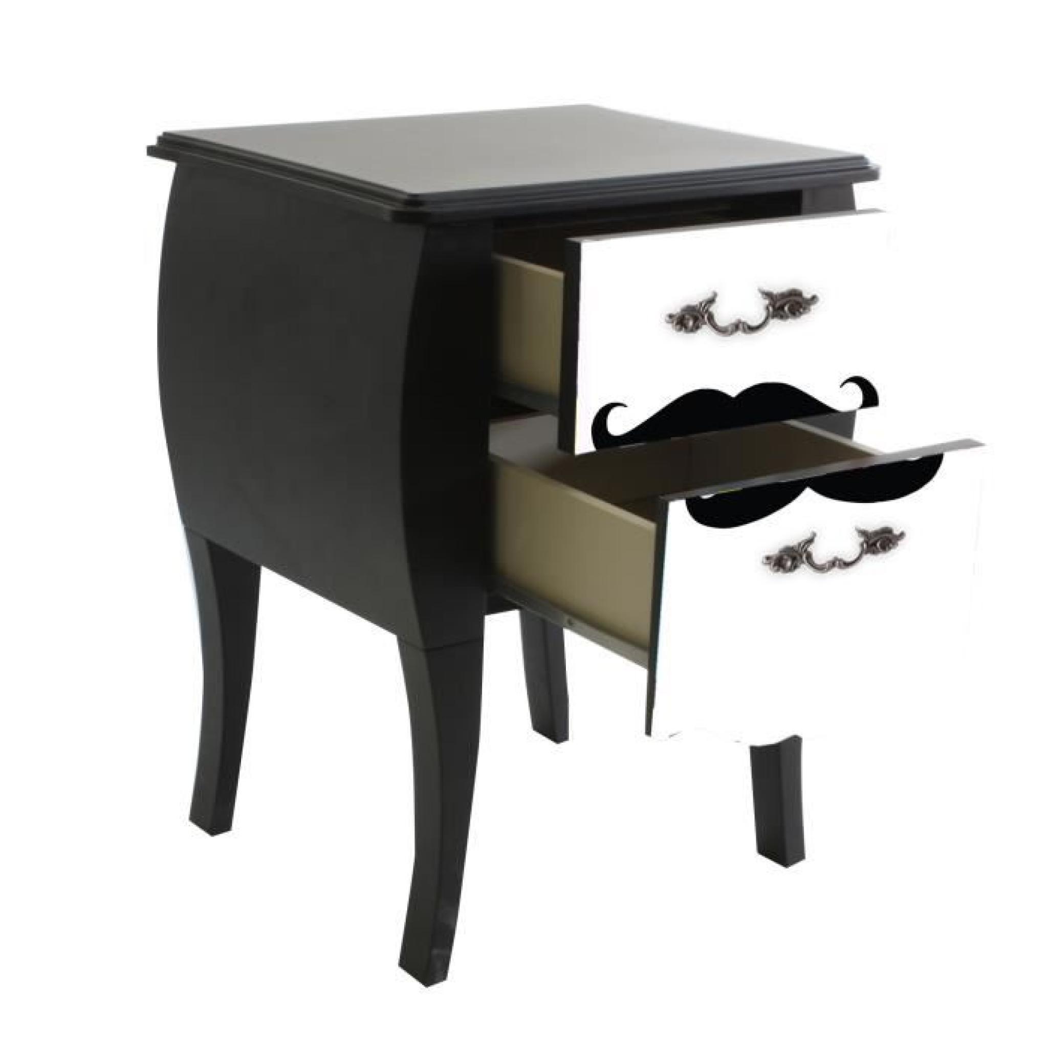 Print Baroque Moustache Table De Chevet A 2 Tiroirs Imprime Moustache Achat Vente Table De Chevet Pas Cher Couleur Et Design Fr