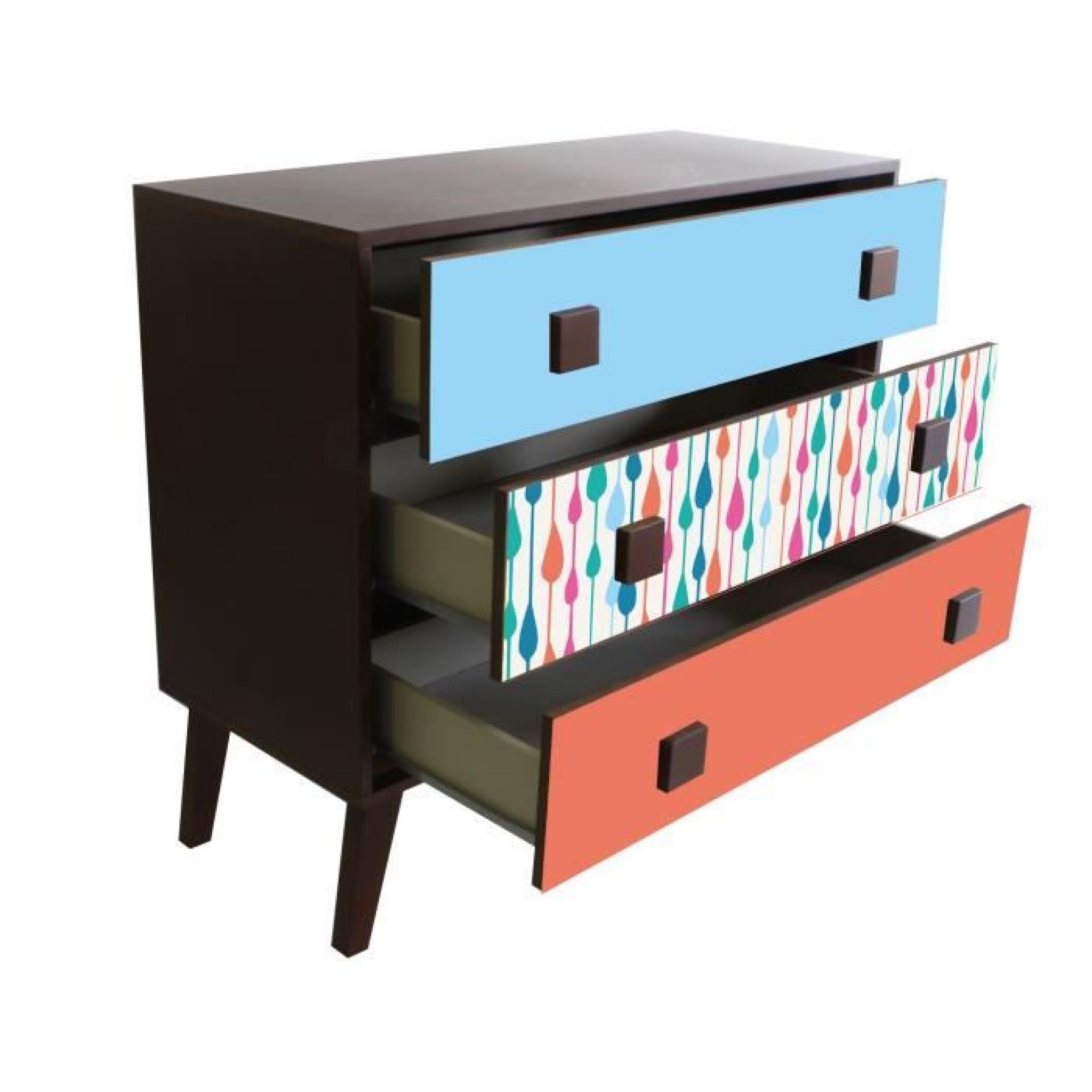 print fifties drop grande commode 3 tiroirs imprim gouttes pastel achat vente commode. Black Bedroom Furniture Sets. Home Design Ideas