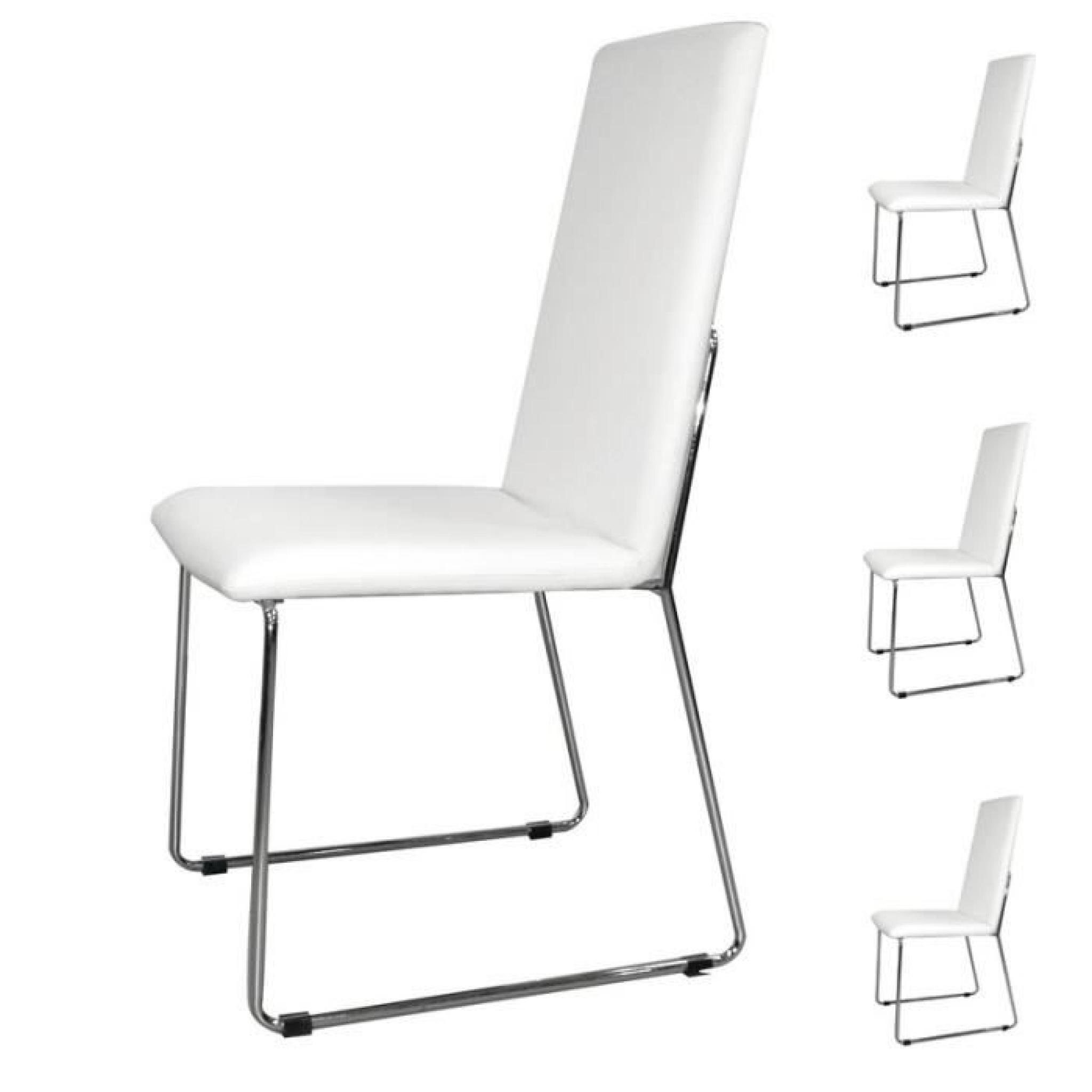 quatuor de chaises pu blanc turin achat vente chaise salle a manger pas cher couleur et. Black Bedroom Furniture Sets. Home Design Ideas