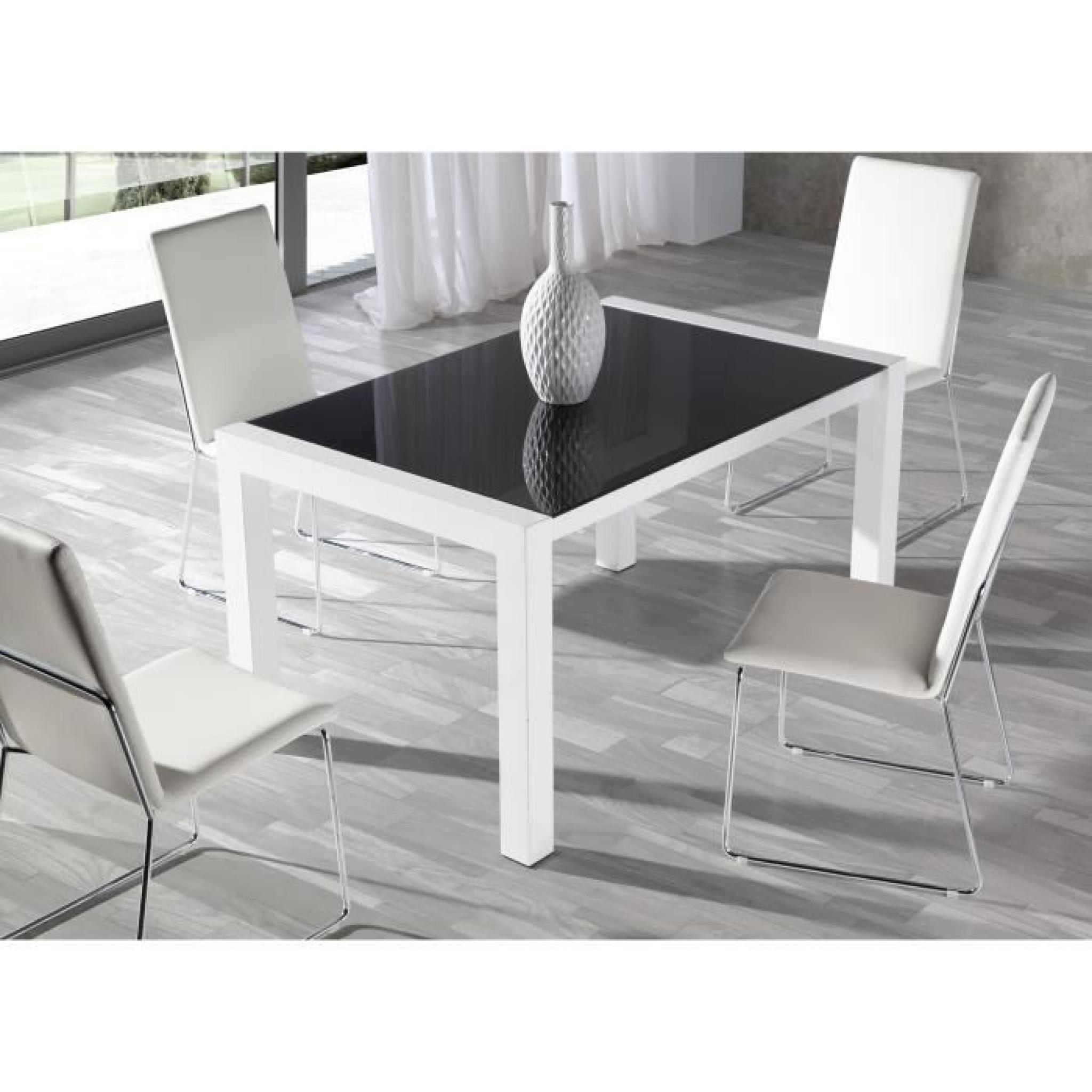 Quatuor de chaises pu blanc turin achat vente chaise - Chaises salle a manger design pas cher ...