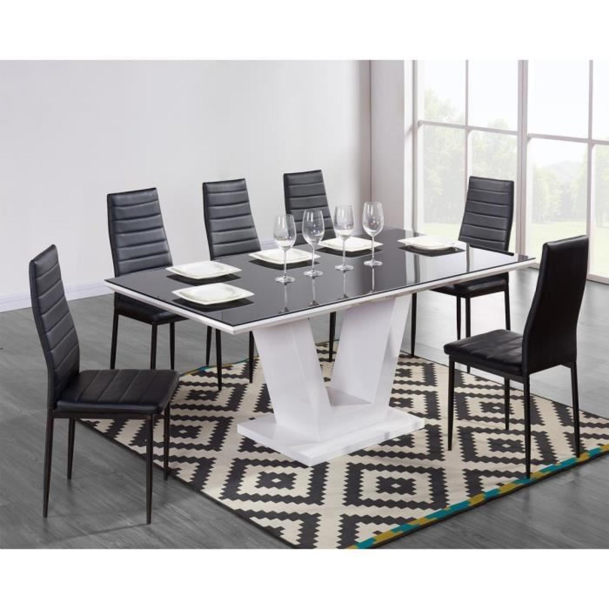 20752e38629 QUEEN Table à manger 180x90cm noir et blanc brillant - Achat Vente ...