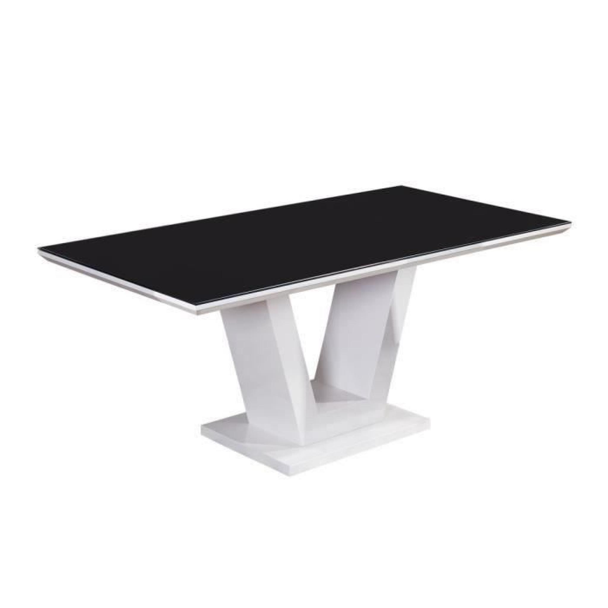 Queen table manger 180x90cm noir et blanc brillant for Table noir et blanc