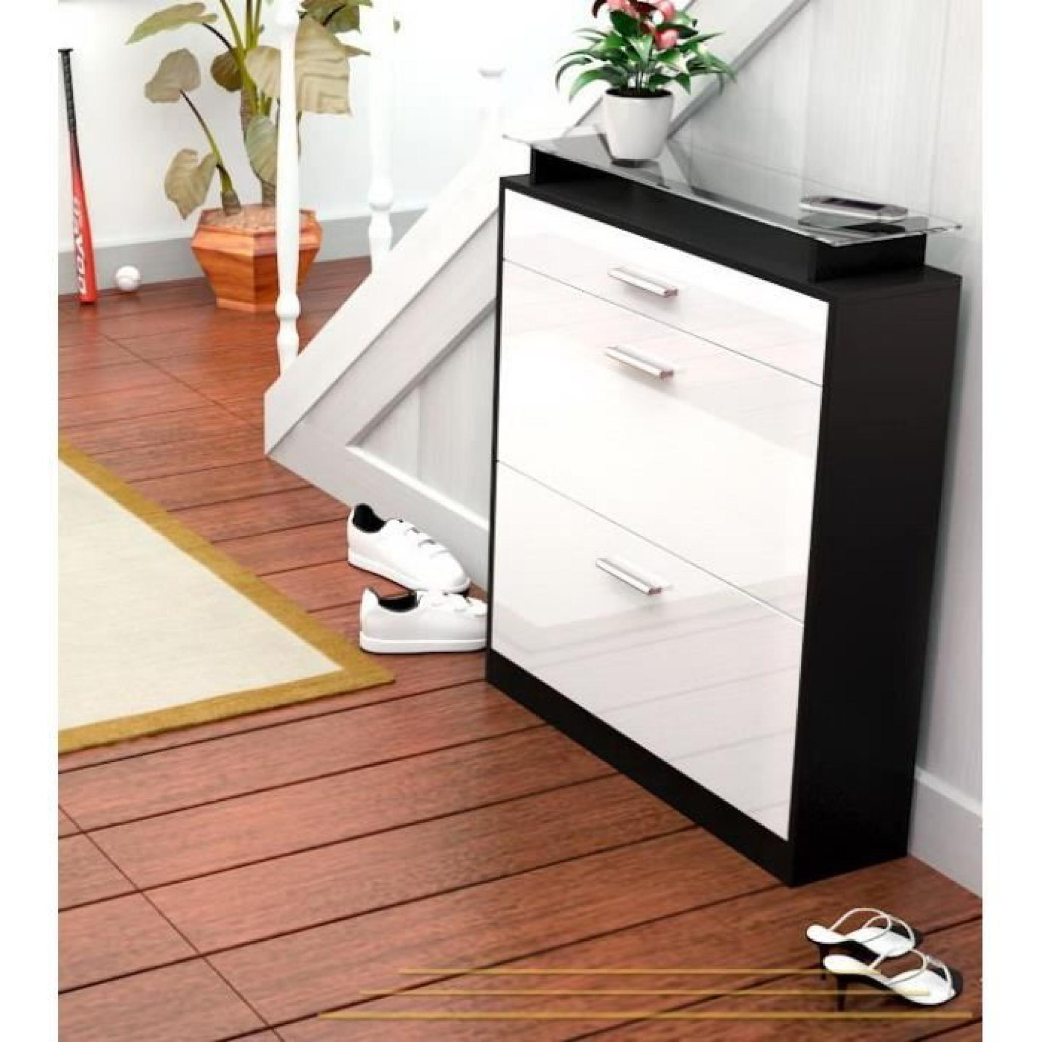 range chaussures noir et blanc 16 paires 89 cm achat vente meuble chaussure pas cher. Black Bedroom Furniture Sets. Home Design Ideas