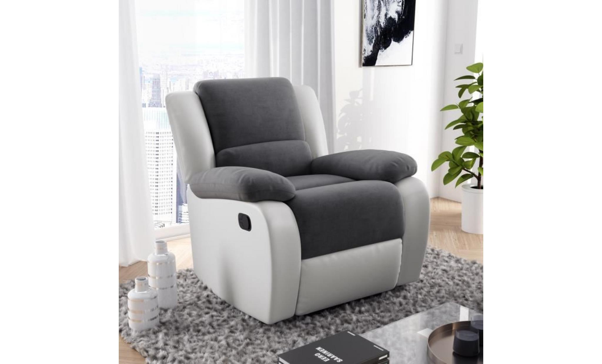 Relax Fauteuil Design.Relax Fauteuil Relaxation Simili Et Tissu Blanc Et Gris Style