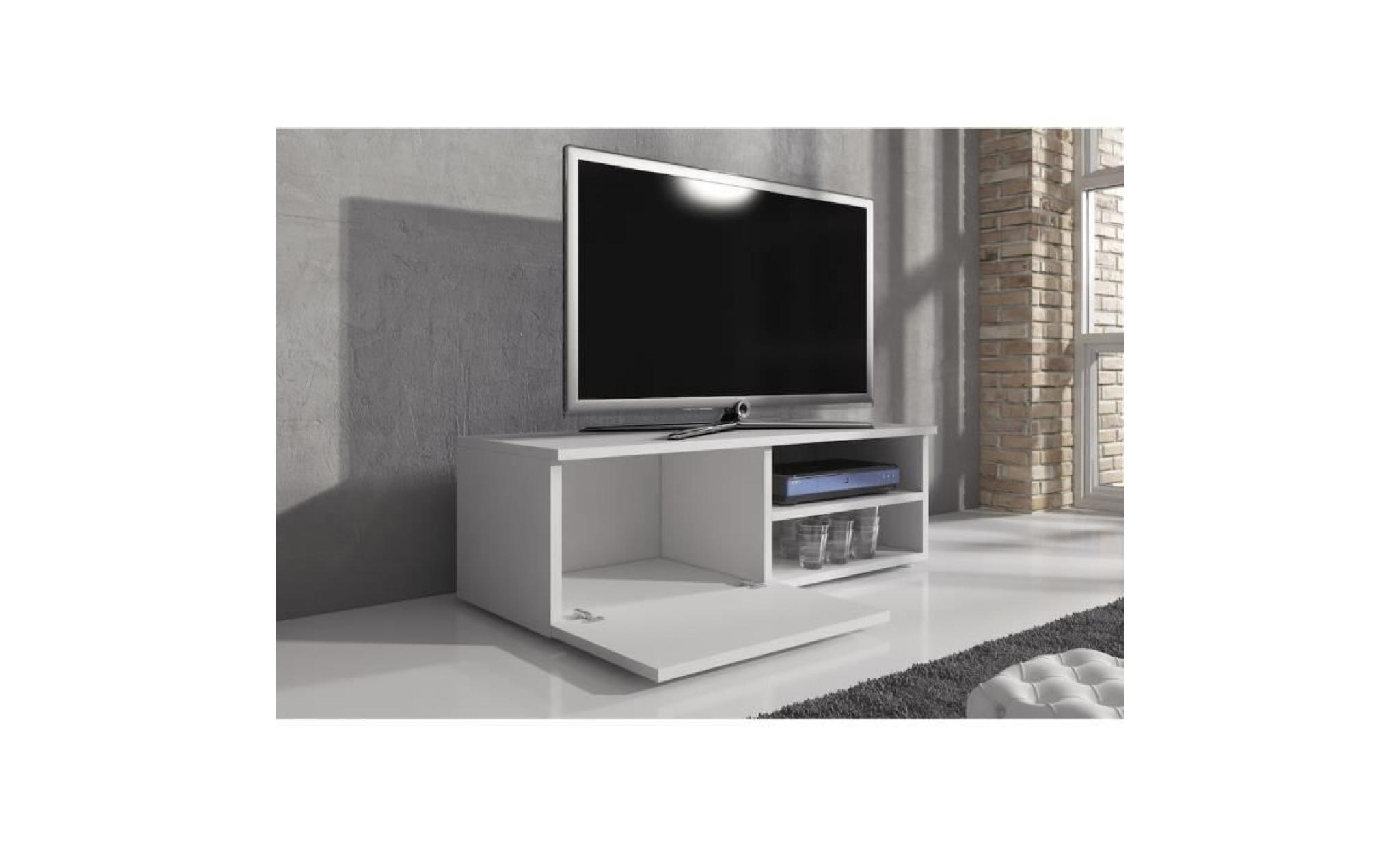 design de qualité fca3a 3049e reno meuble tv contemporain décor blanc mat 120 cm