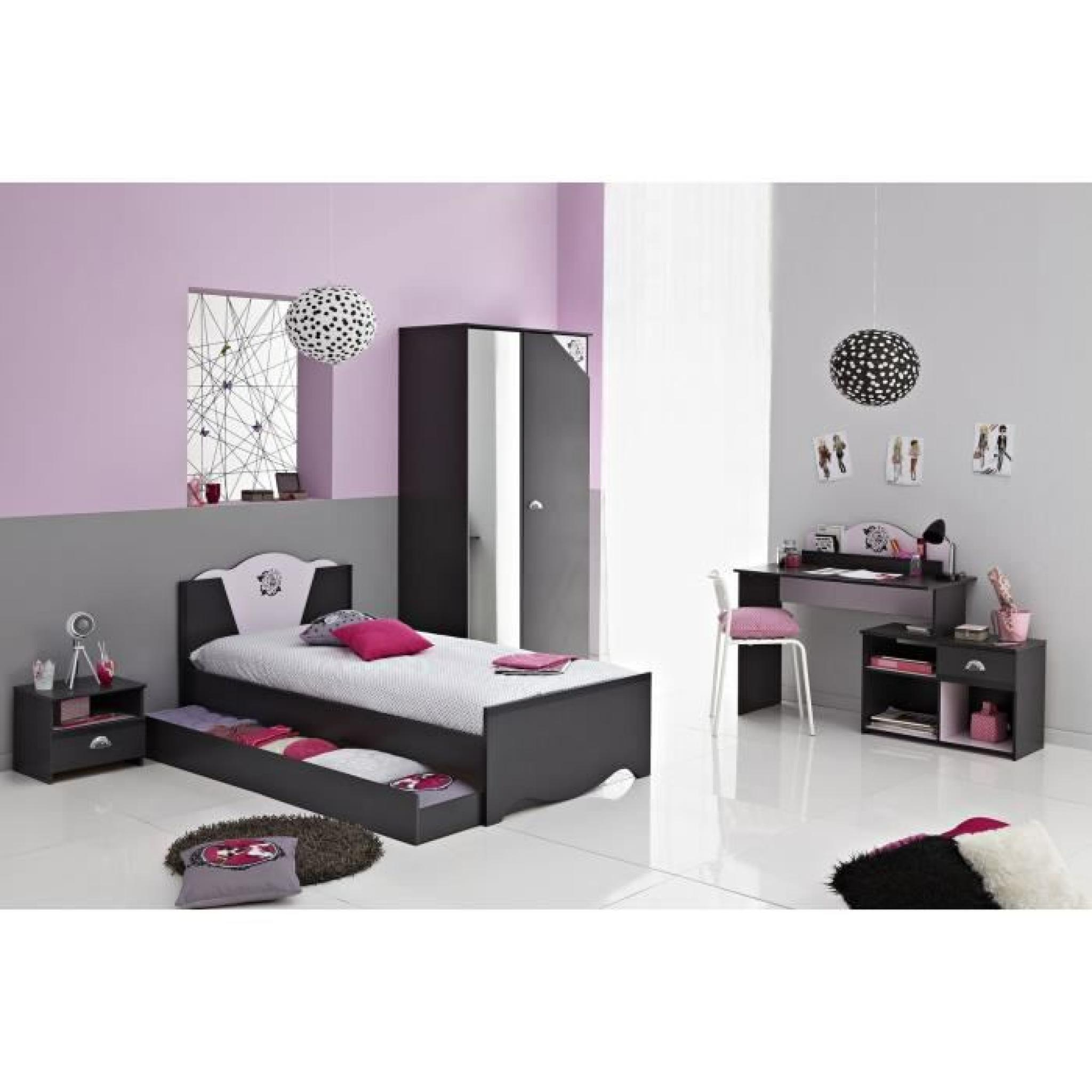rock ensemble chambre enfant gris ombre rose achat vente chambre complete pas cher couleur. Black Bedroom Furniture Sets. Home Design Ideas