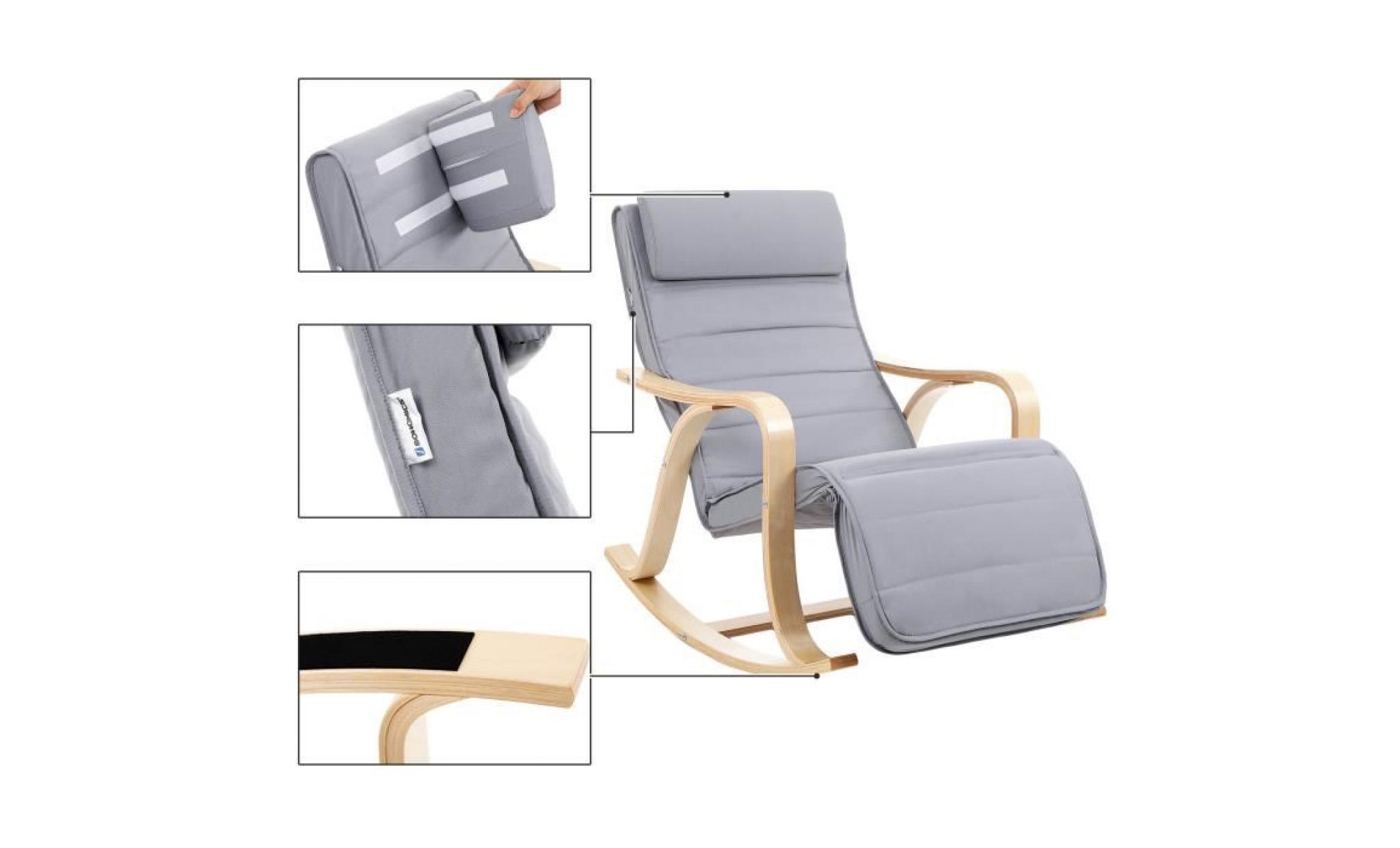 Songmics Fauteuil A Bascule Rocking Chair Revetement Tissu Avec