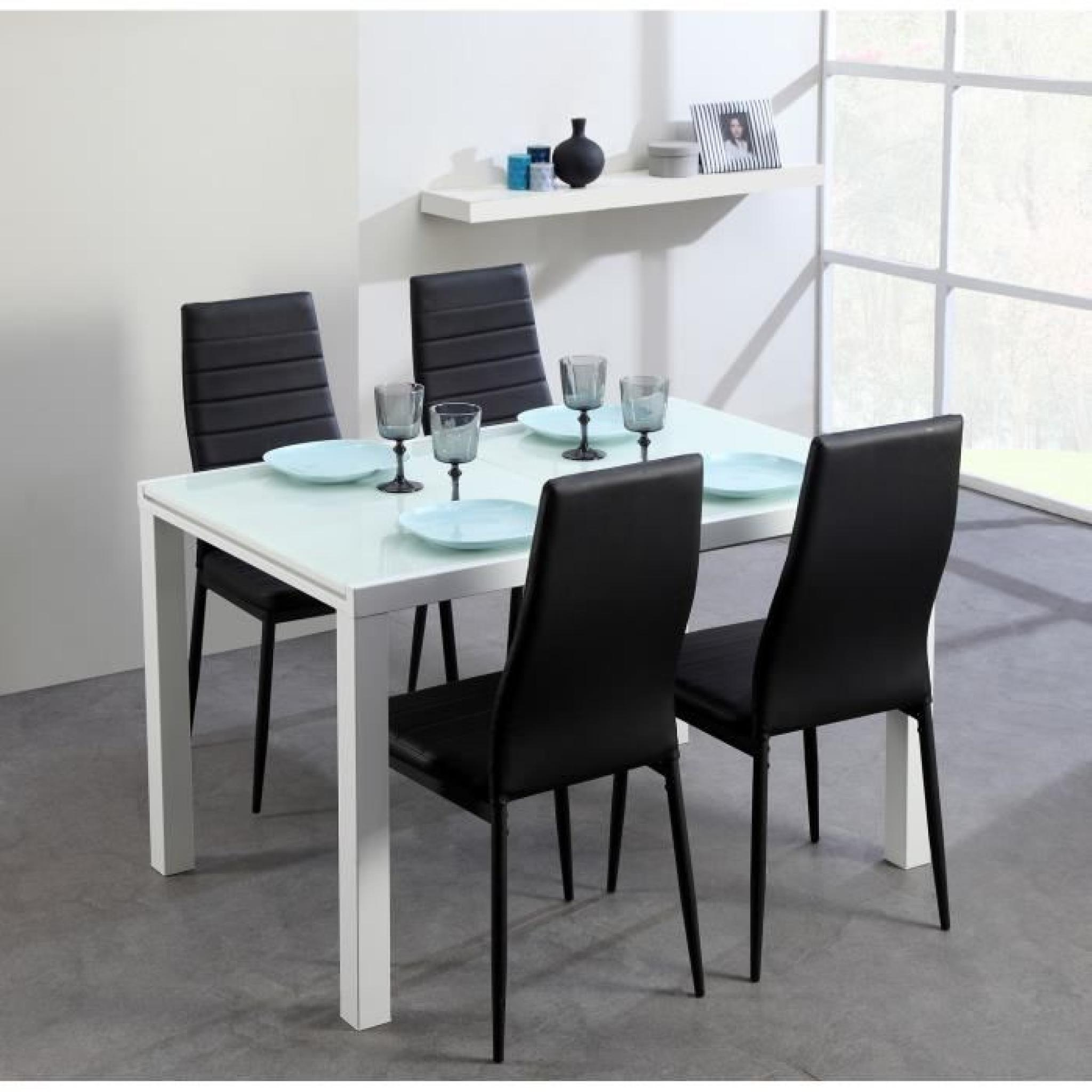 Roma table extensible 120 180cm verre blanc achat vente for Table salle a manger extensible design