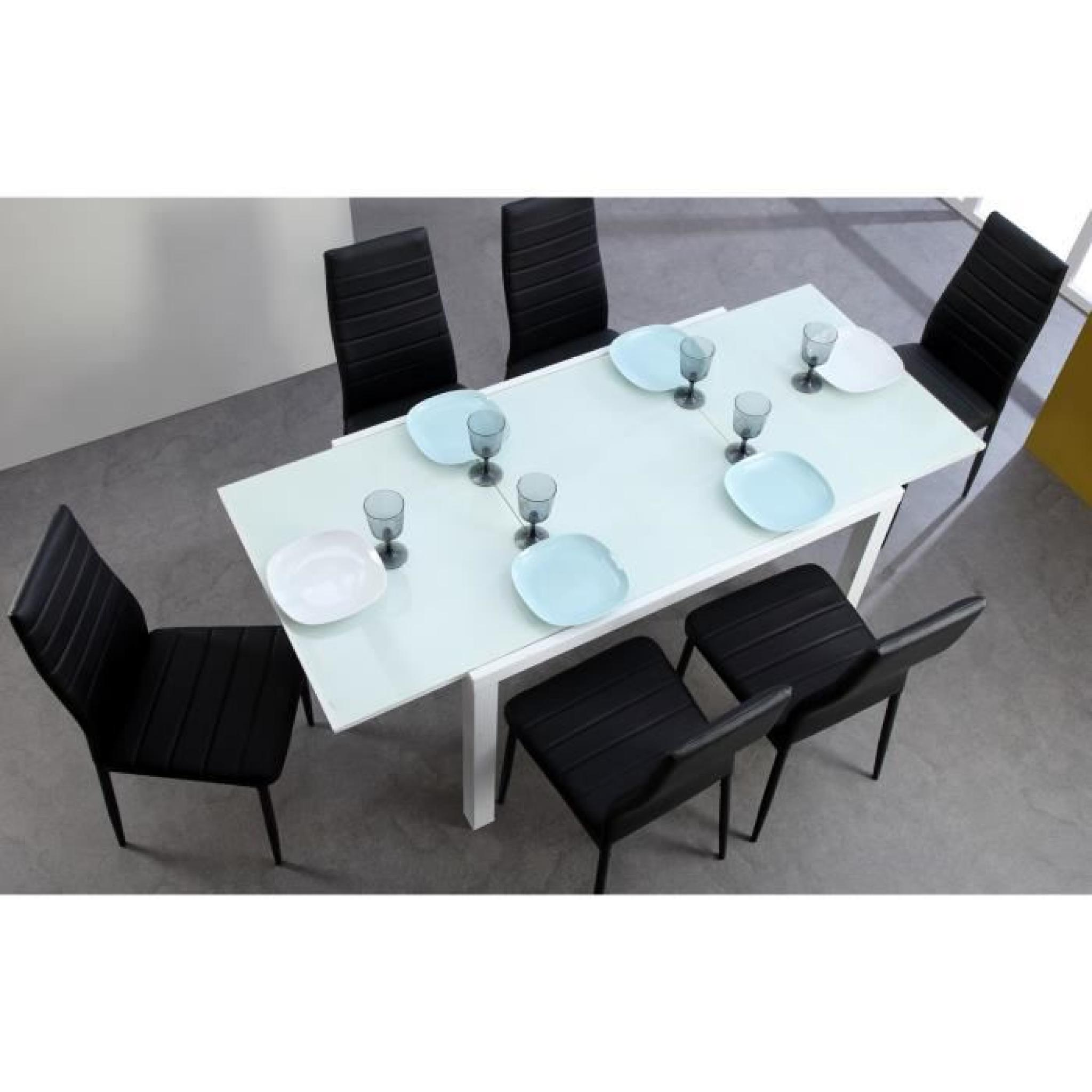 ROMA Table Extensible 120/180cm Verre Blanc