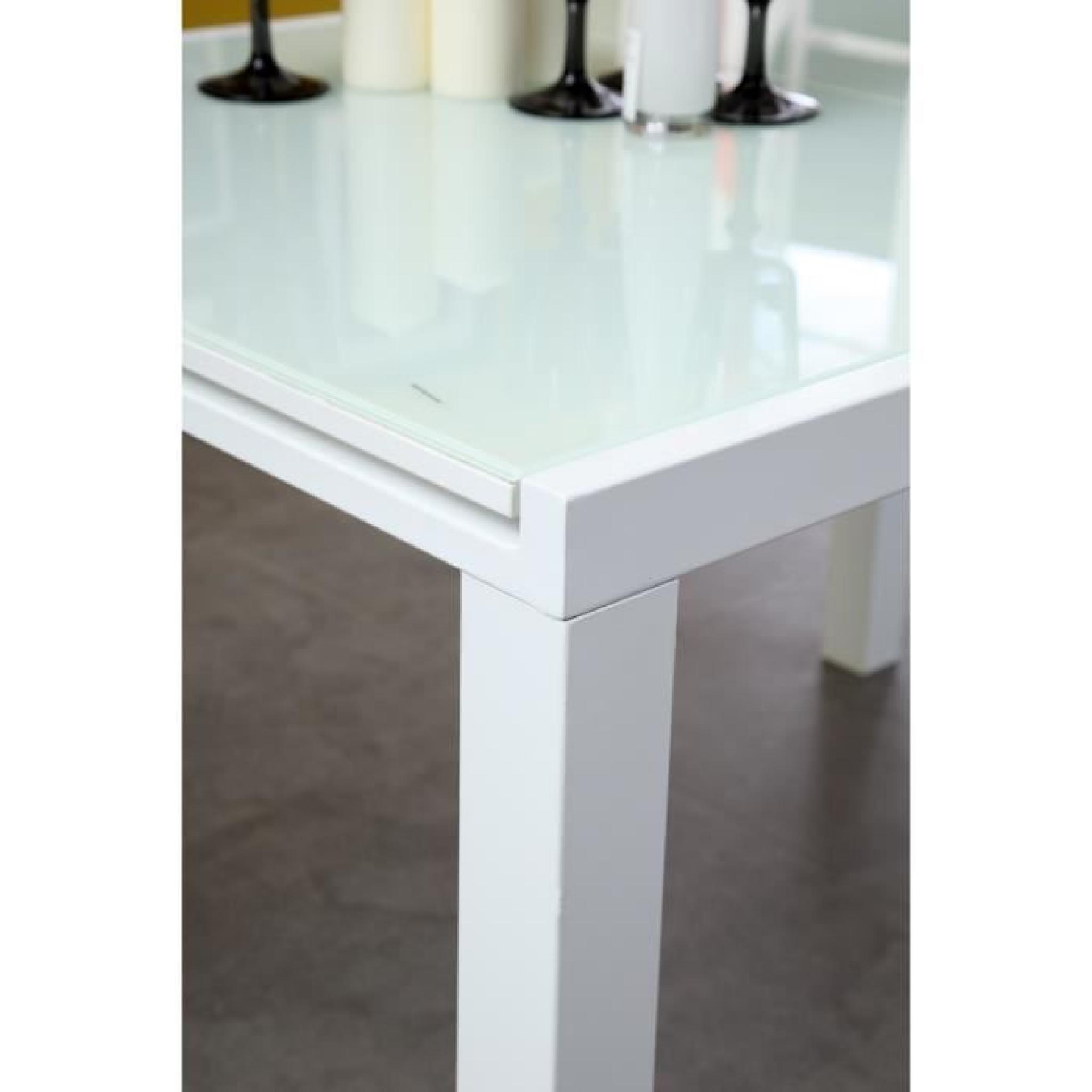 Roma table extensible 120 180cm verre blanc achat vente for Table cuisine blanche