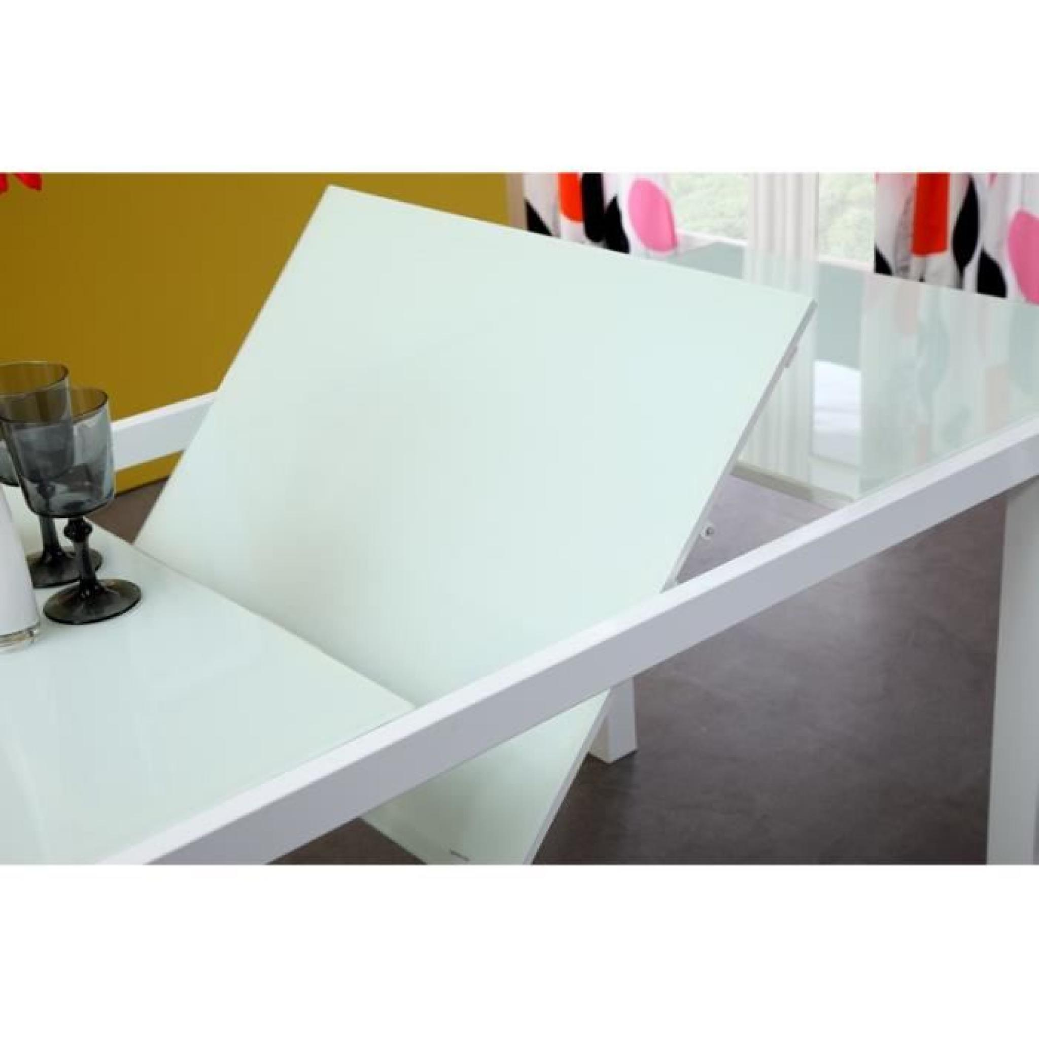 Roma table extensible 120 180cm verre blanc achat vente for Table en verre extensible design