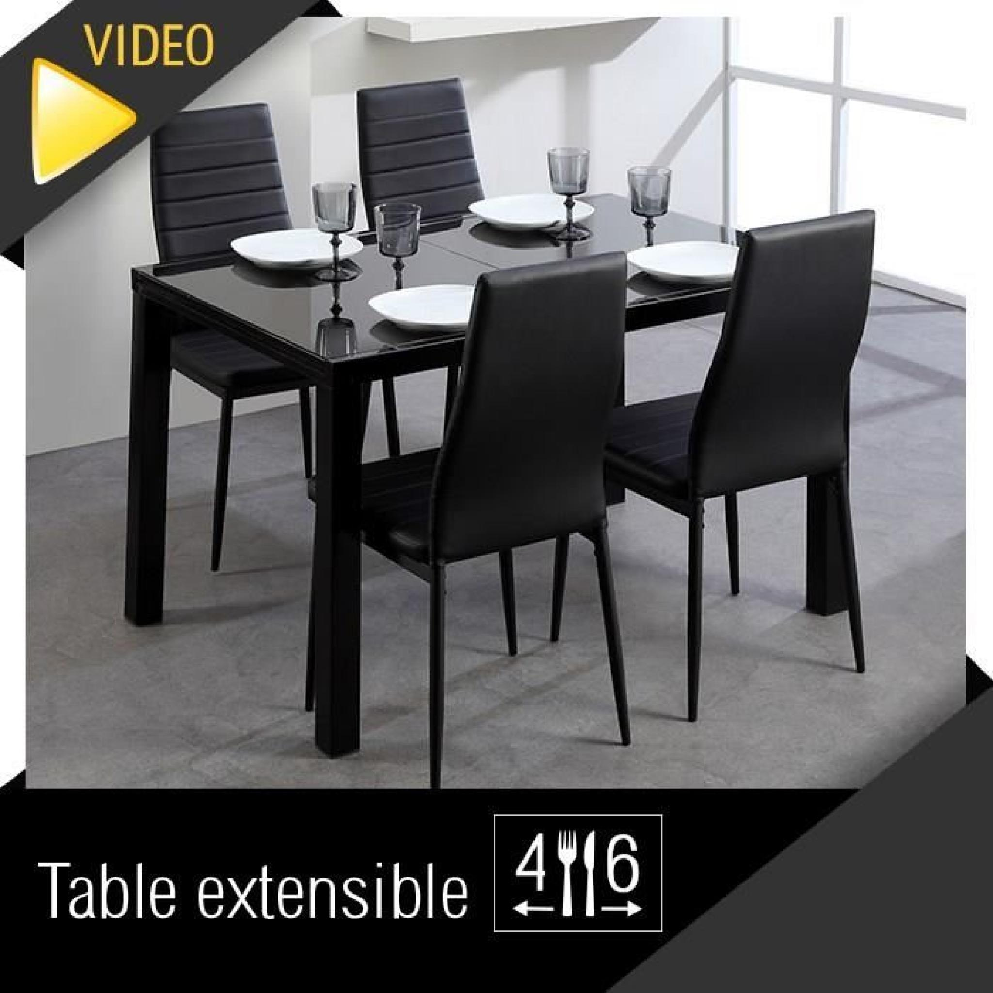 Roma table extensible 120 180cm verre noir achat vente for Table salle a manger design paris