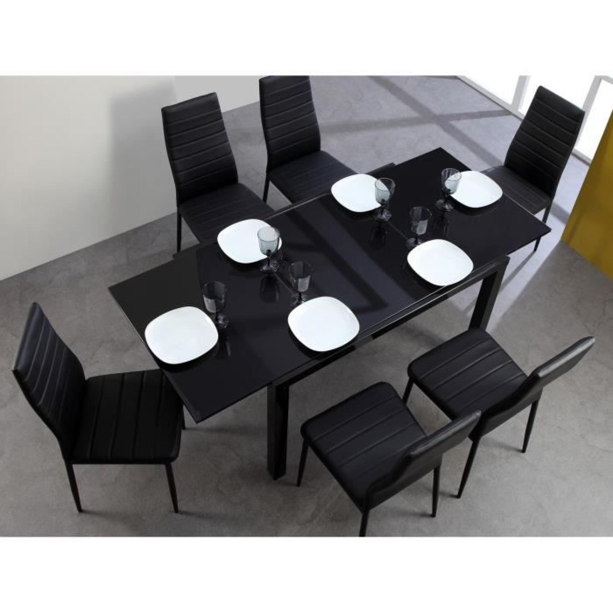 Roma table extensible 120 180cm verre noir achat vente for Table a manger 120 cm extensible