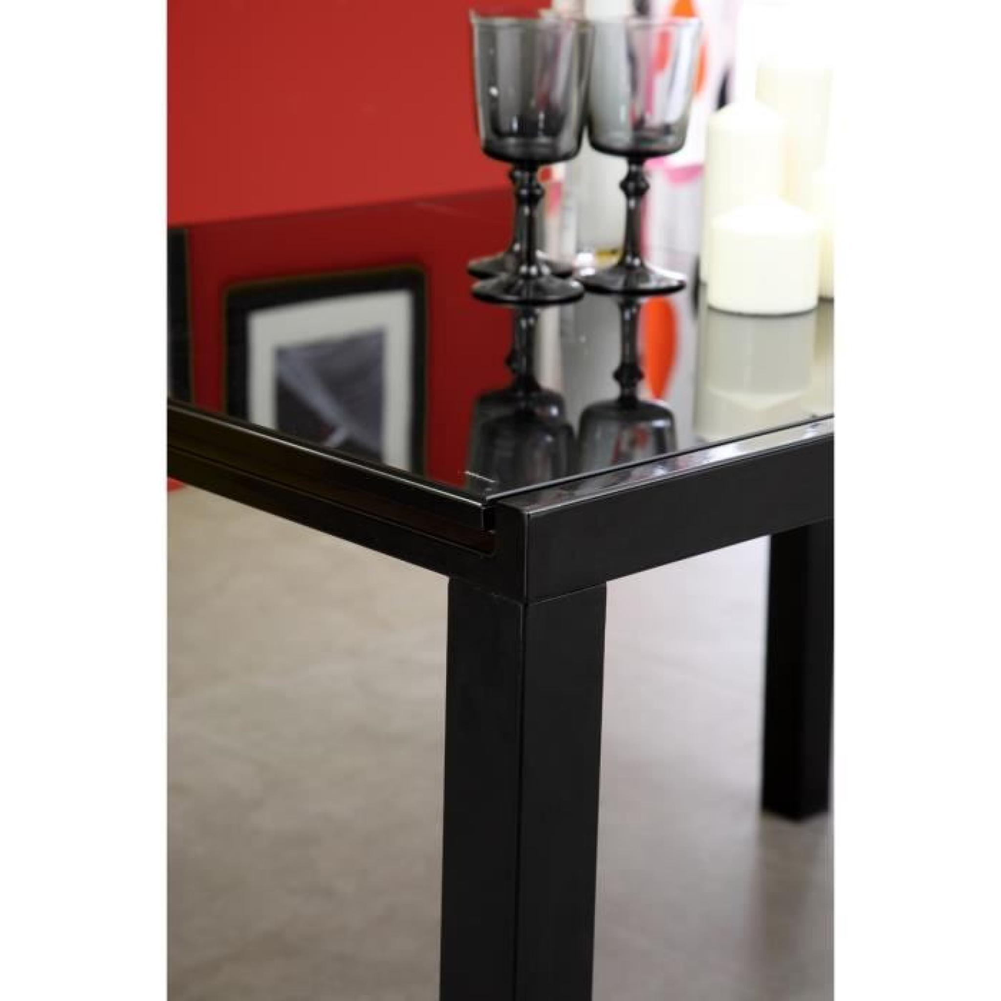 Roma table extensible 120 180cm verre noir achat vente for Table salle a manger extensible pas cher
