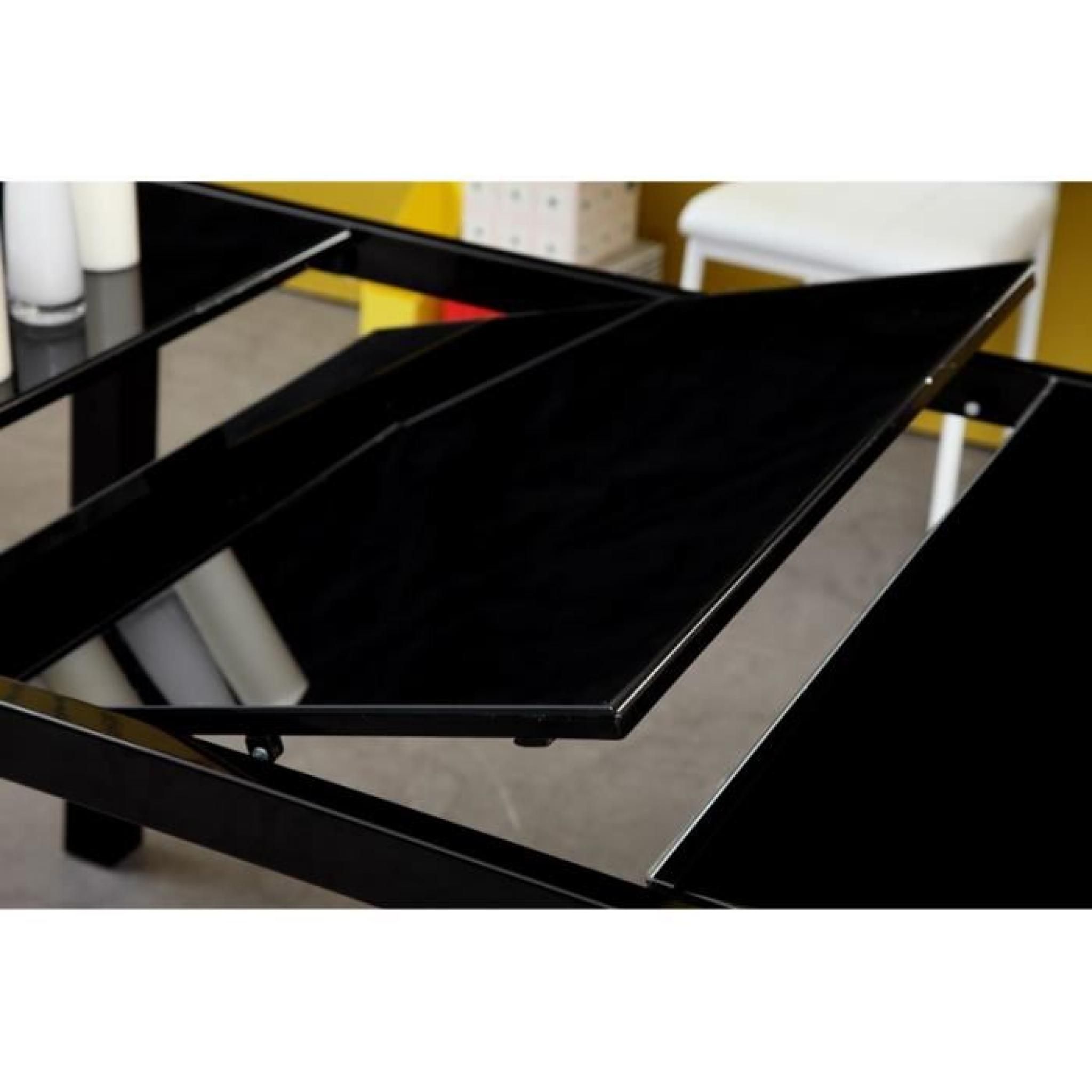 Roma table extensible 120 180cm verre noir achat vente for Table verre noir extensible