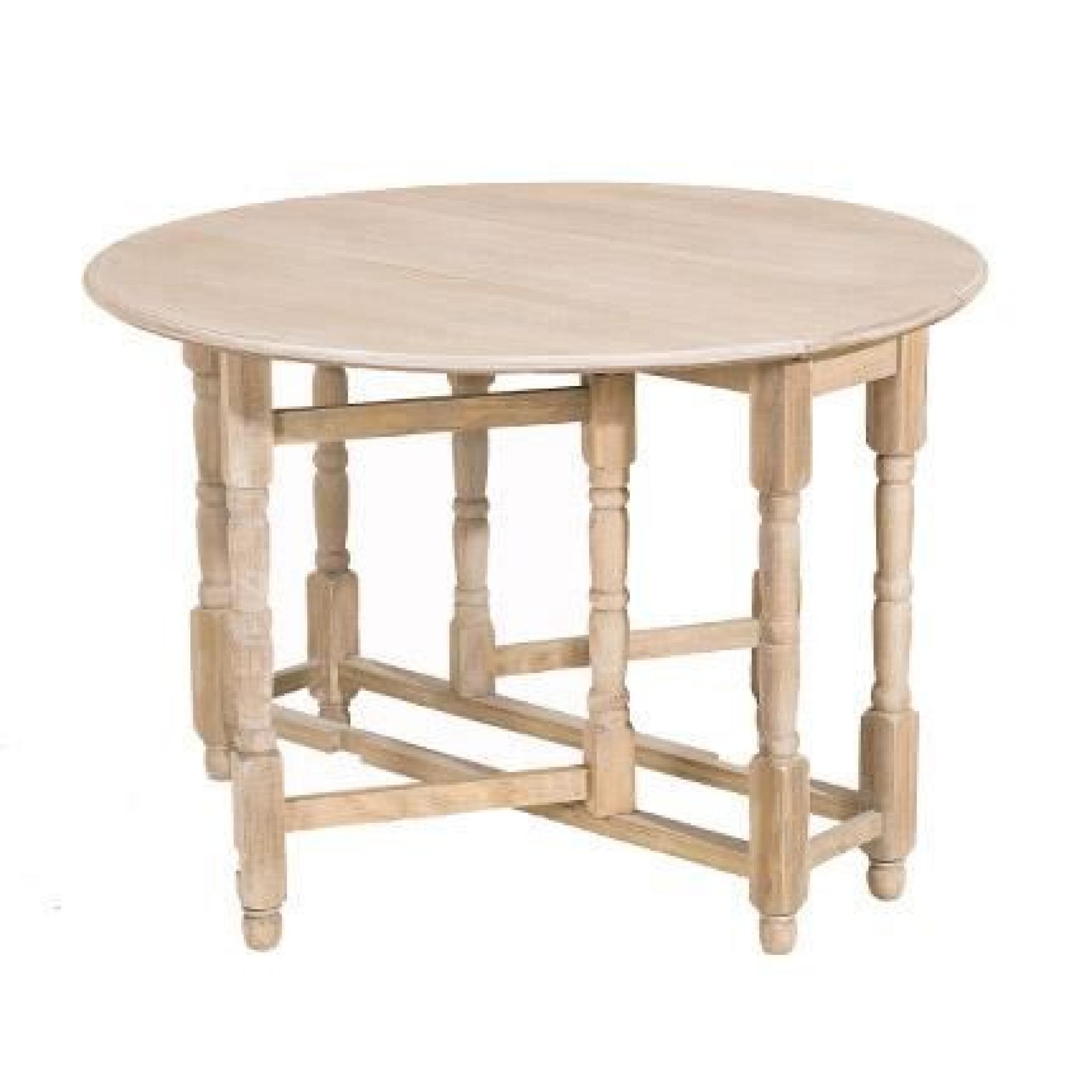 saint tropez table ronde pliante 115 cm paulownia achat vente table salle a manger pas cher. Black Bedroom Furniture Sets. Home Design Ideas