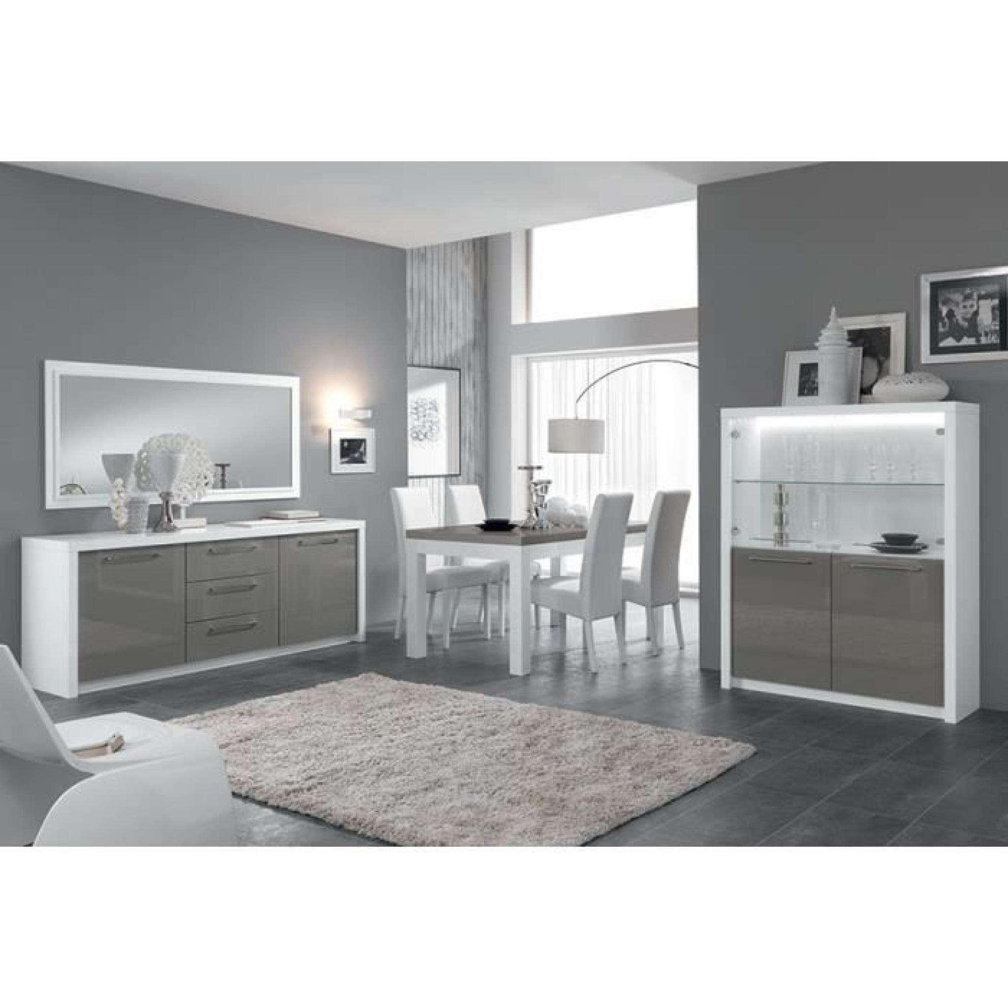 Salle à manger complète blanc et gris laqué design LYDIA L 160 cm