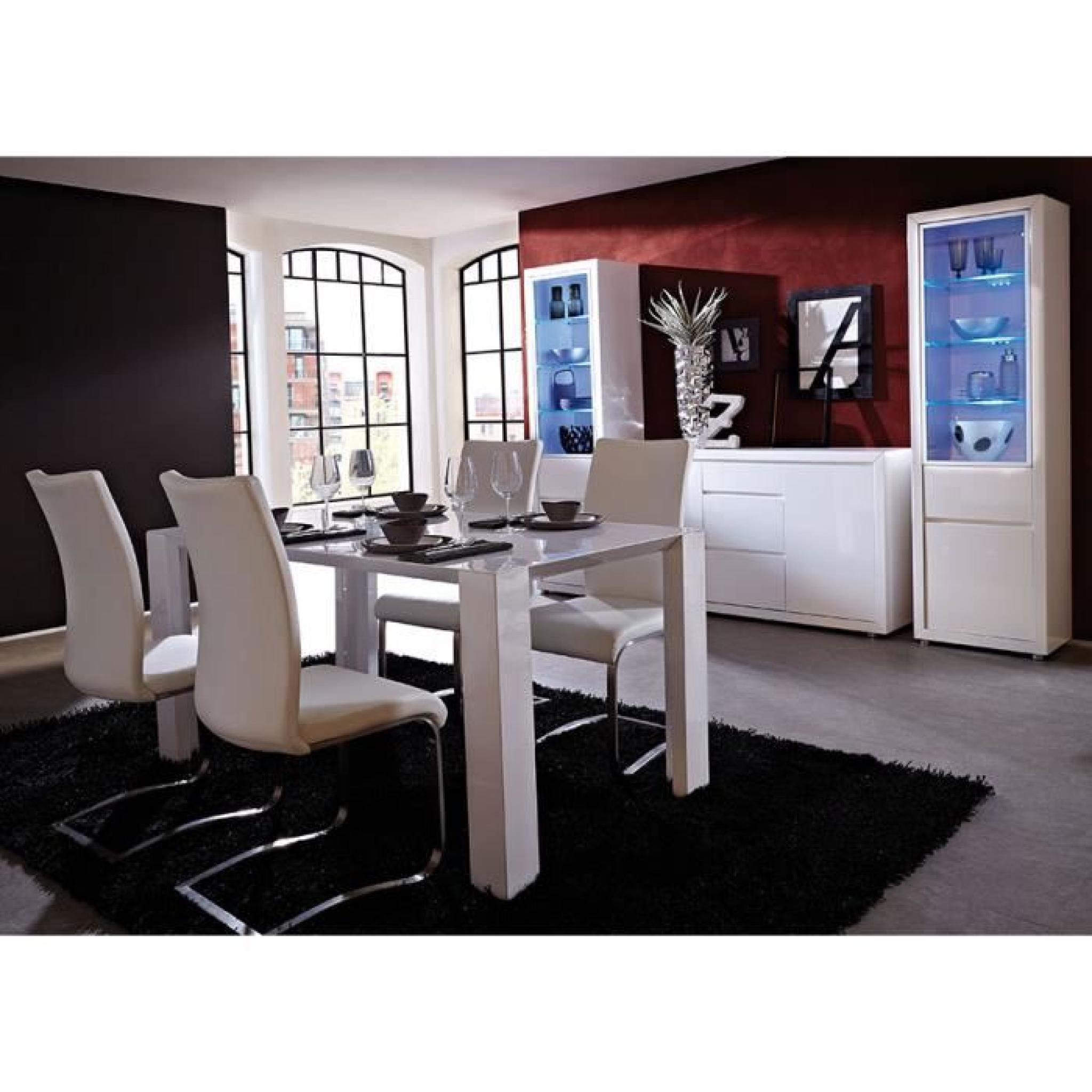 Salle A Manger Complete Blanc Laque Design Aristo Table 160 Cm Buffet 3 Portes Sans Led