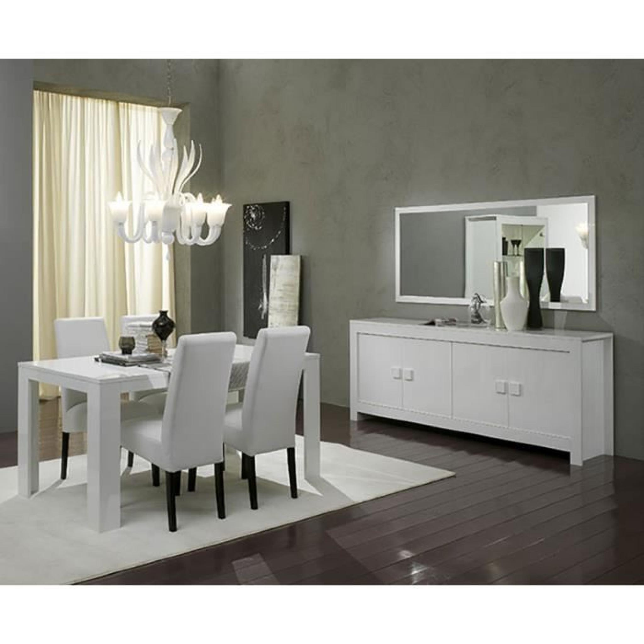 Salle manger compl te blanc laqu design tamara 2 for Ensemble buffet table manger