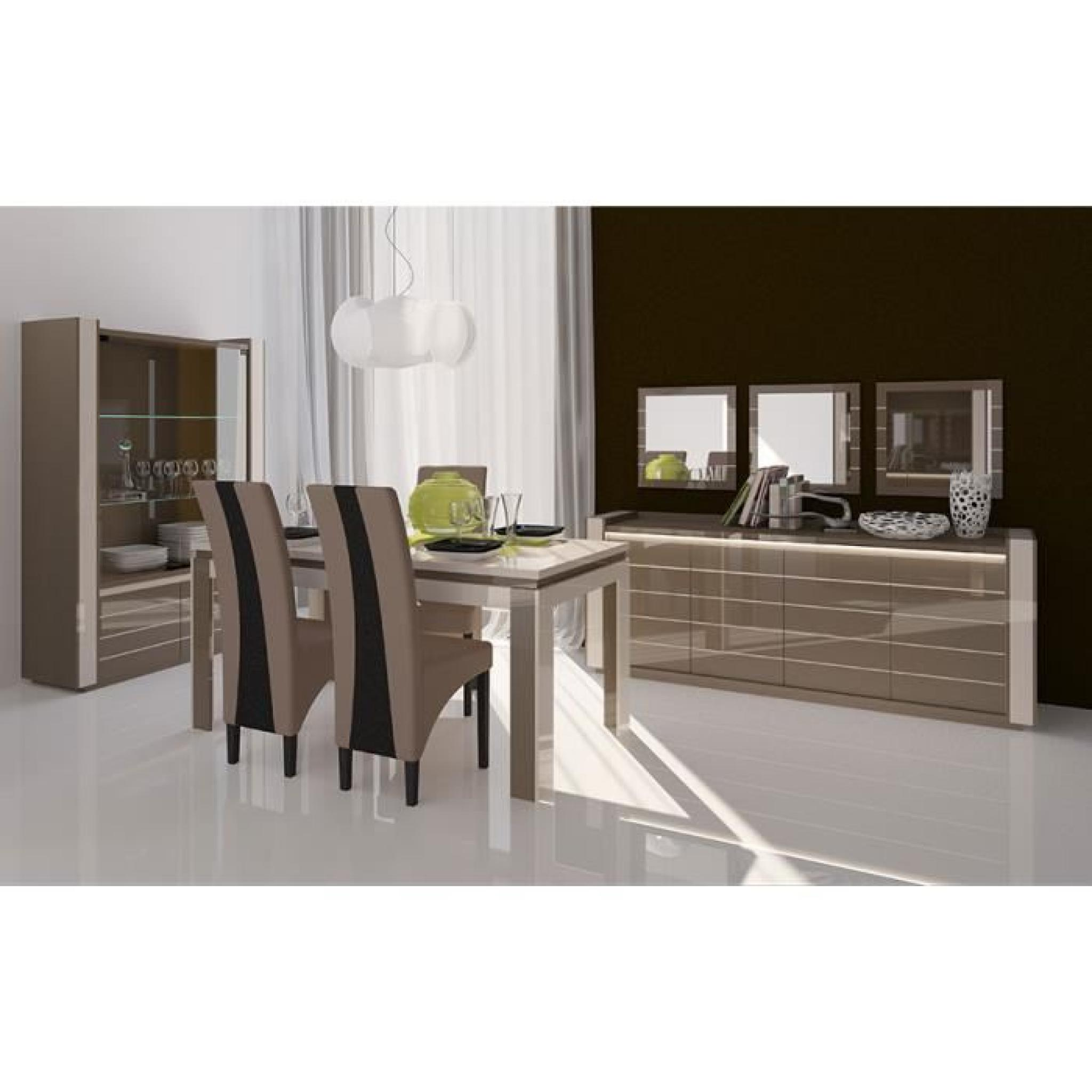 salle manger compl te cappuccino et cr me laqu design erica 2 table 180 achat vente. Black Bedroom Furniture Sets. Home Design Ideas
