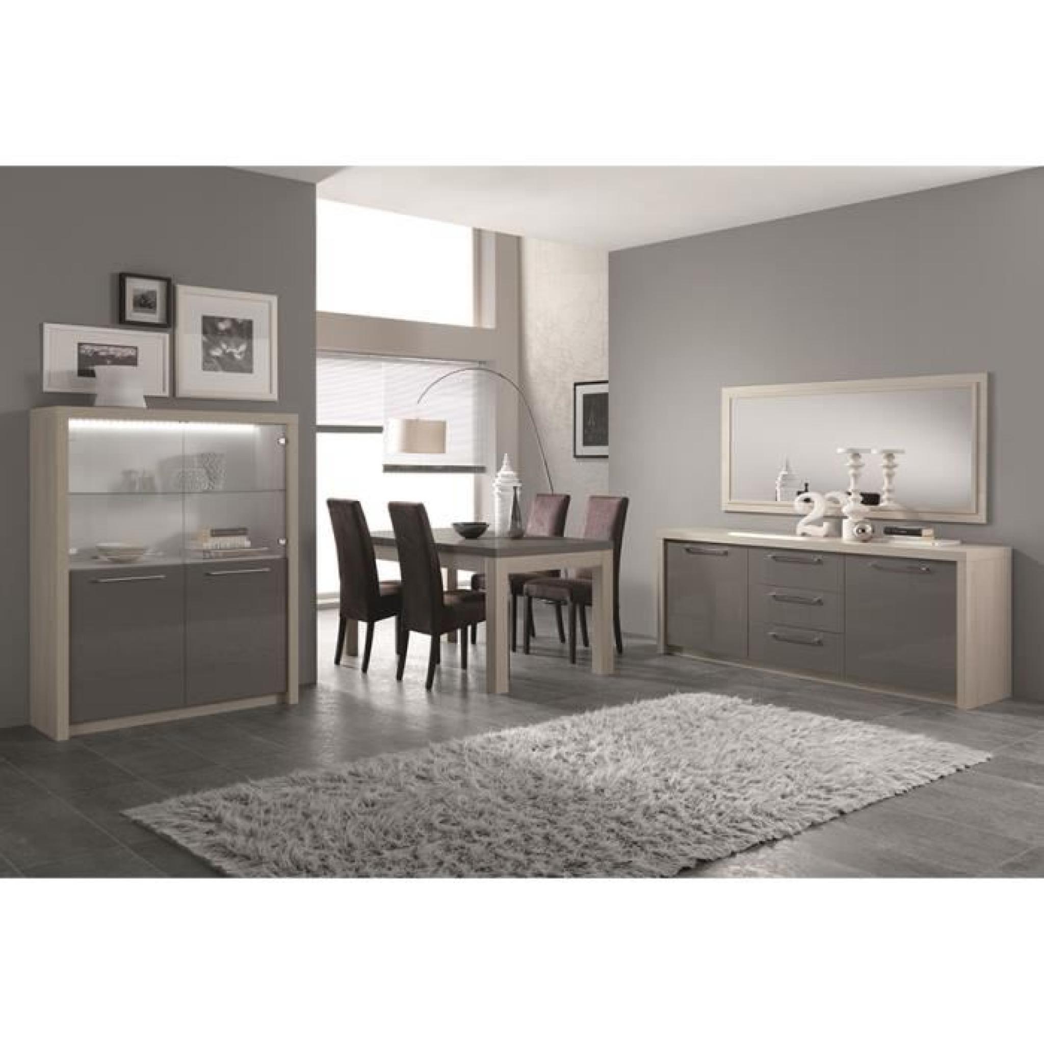 Salle à manger complète couleur chêne blanchi et gris laqué moderne GAIA L  190 cm