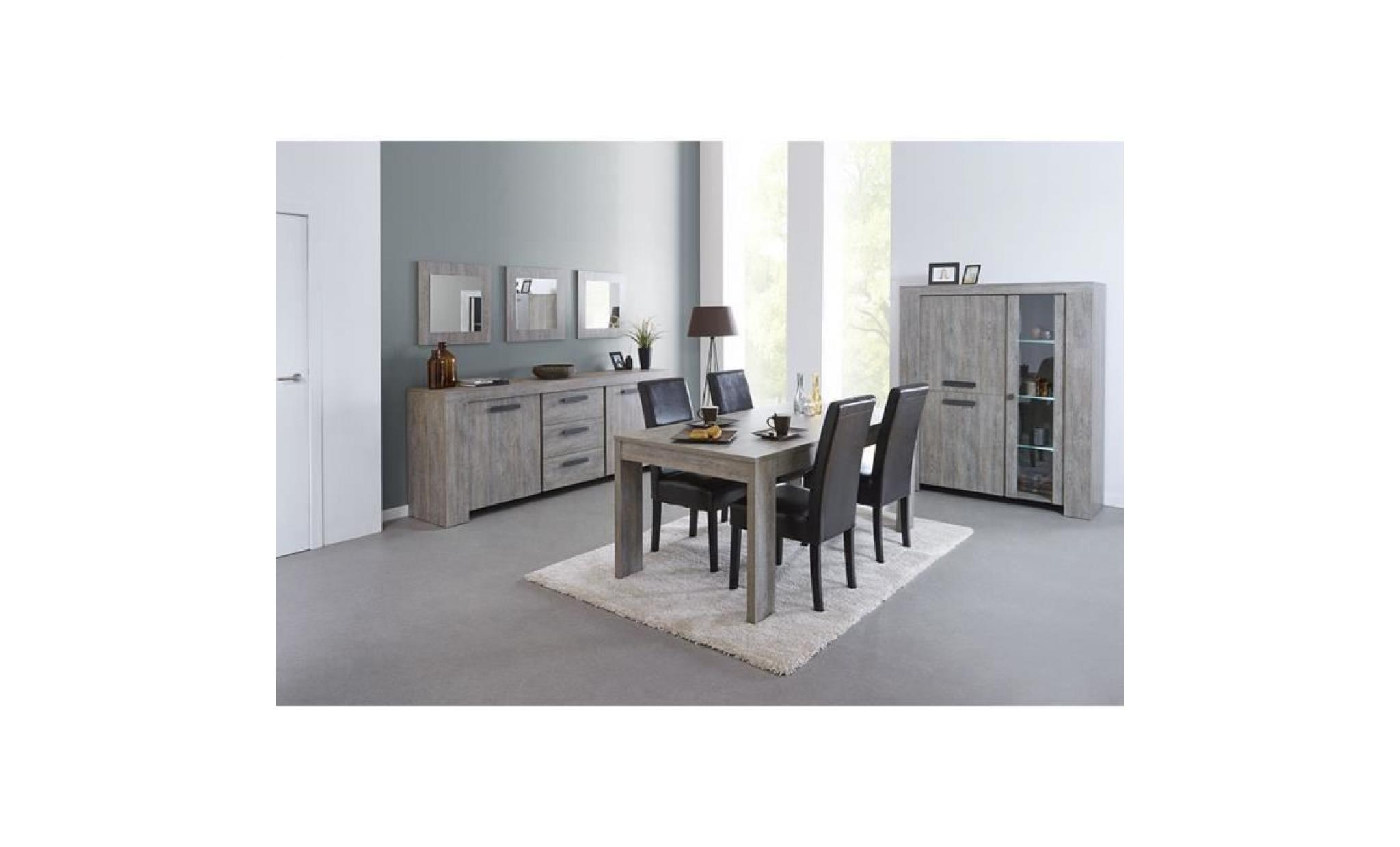 salle manger compl te couleur ch ne gris contemporaine azura table 160 cm achat vente. Black Bedroom Furniture Sets. Home Design Ideas