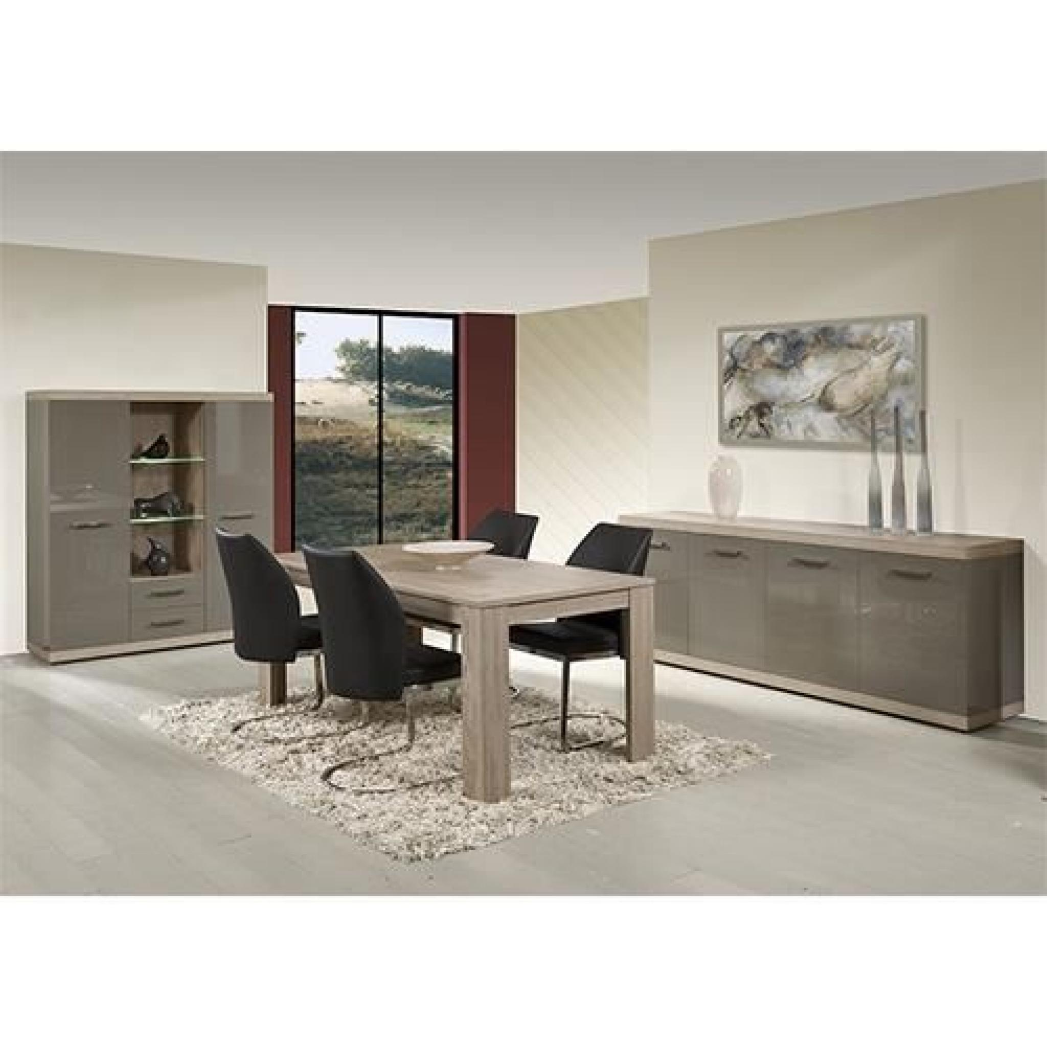 salle manger compl te gris laqu et couleur ch ne clair moderne solly table 160 cm avec. Black Bedroom Furniture Sets. Home Design Ideas