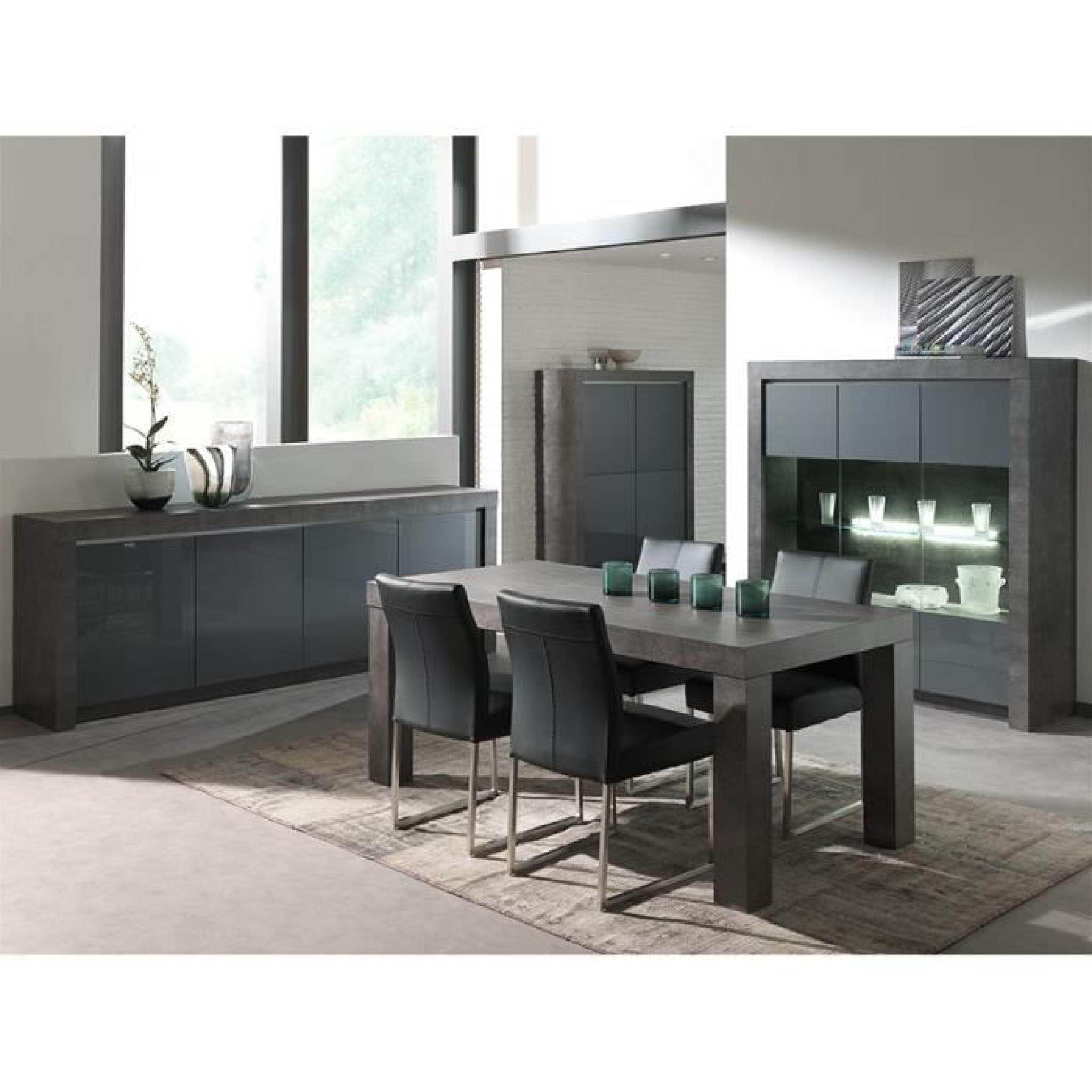 salle manger compl te gris laqu moderne murilo bahut l 218 cm table l 215 cm achat vente. Black Bedroom Furniture Sets. Home Design Ideas