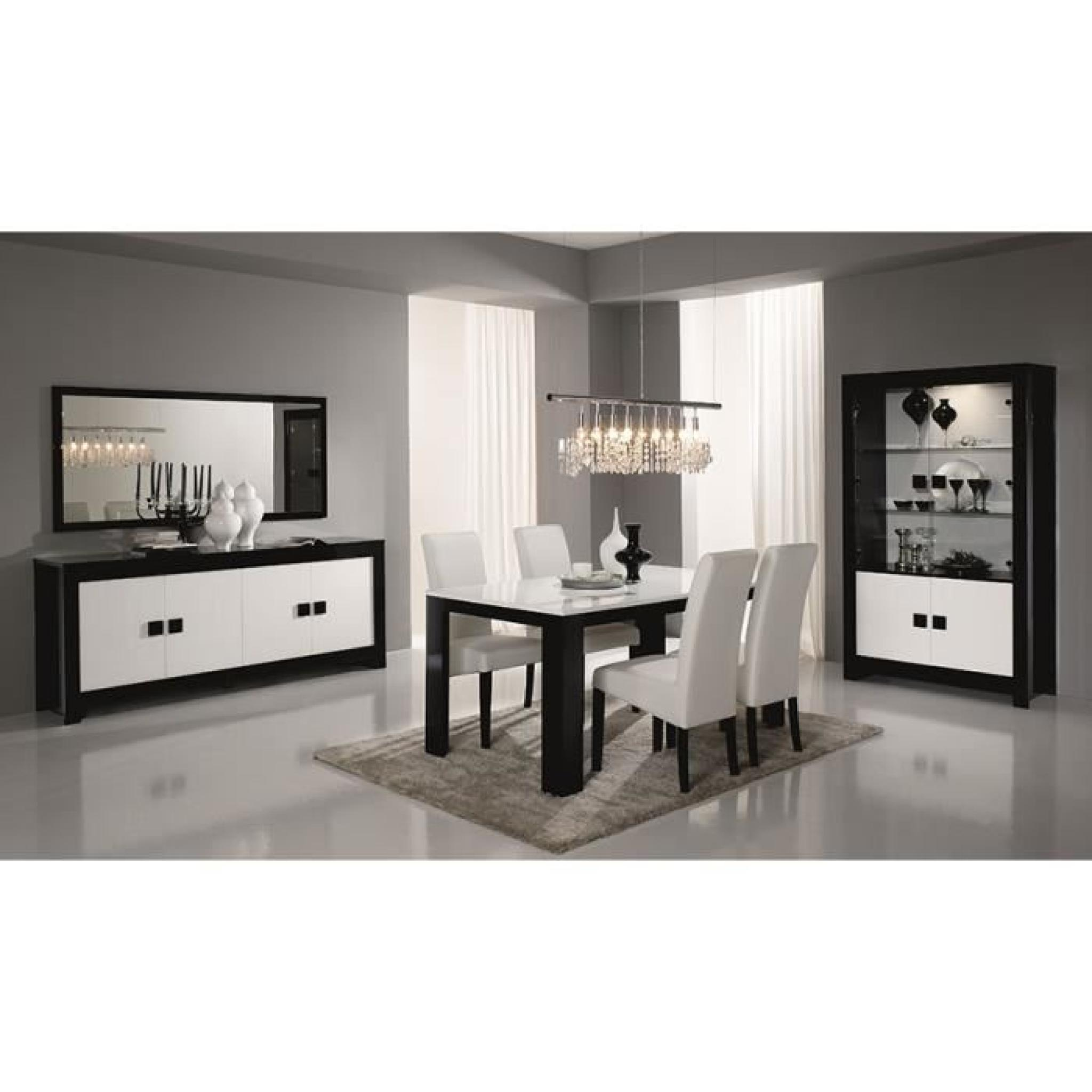 salle manger compl te noir et blanc laqu design bianka 2 table buffet l 160 cm achat. Black Bedroom Furniture Sets. Home Design Ideas