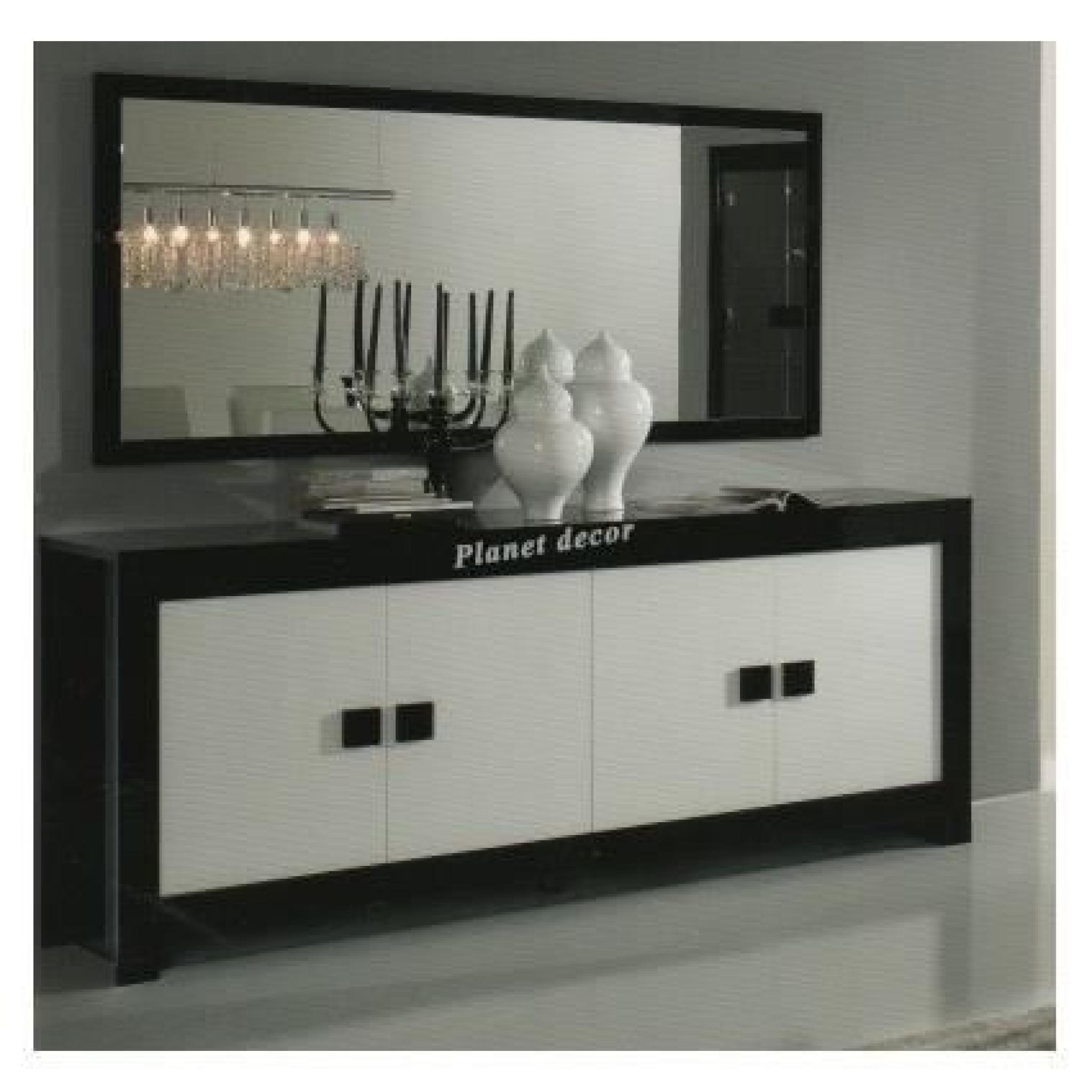 Salle à manger model PISA noir et blanc bahut 4 portes+miroir 180 ...