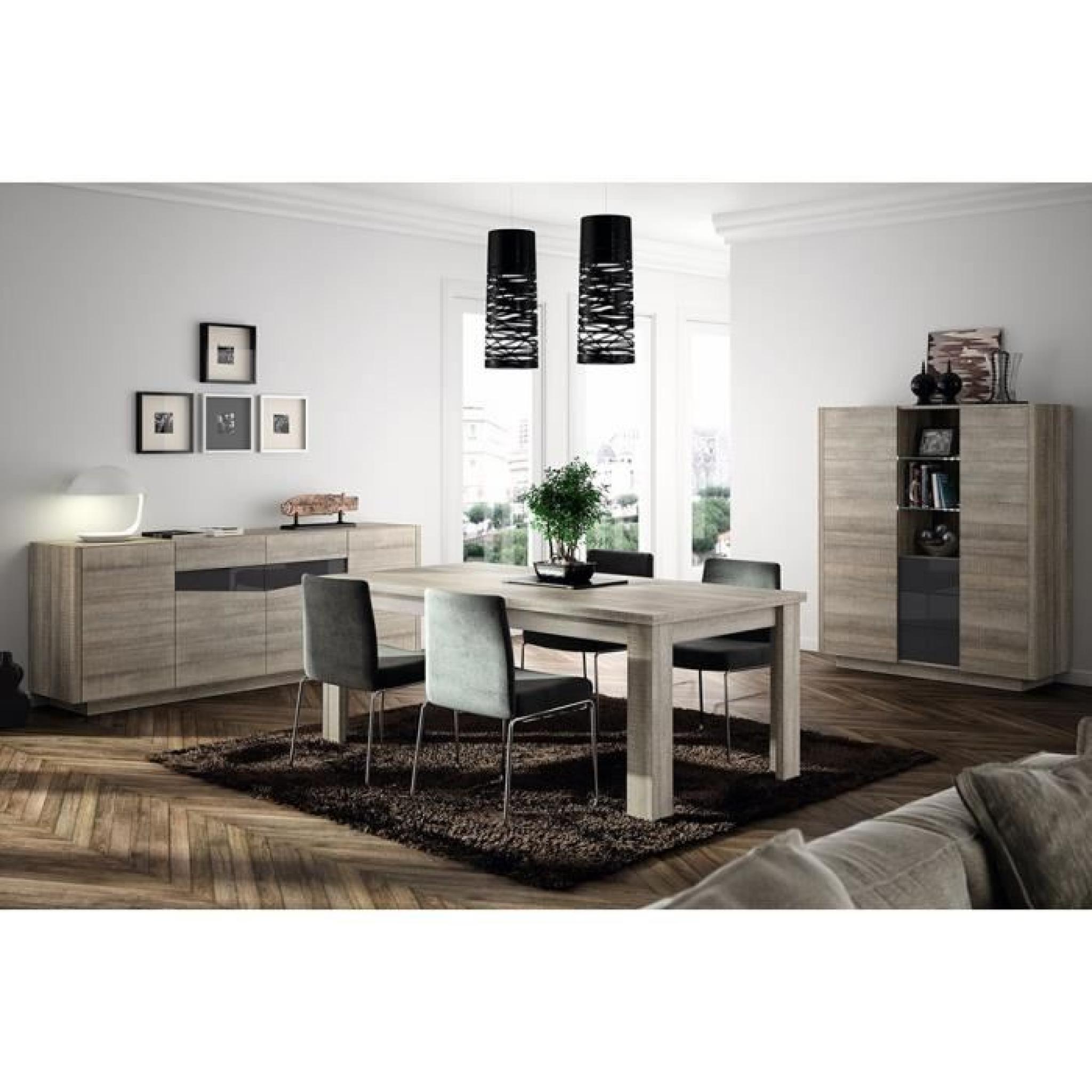 Salle à manger moderne couleur chêne gris et gris laqué ERLINDA Table L 200  cm Buffet L 229 cm