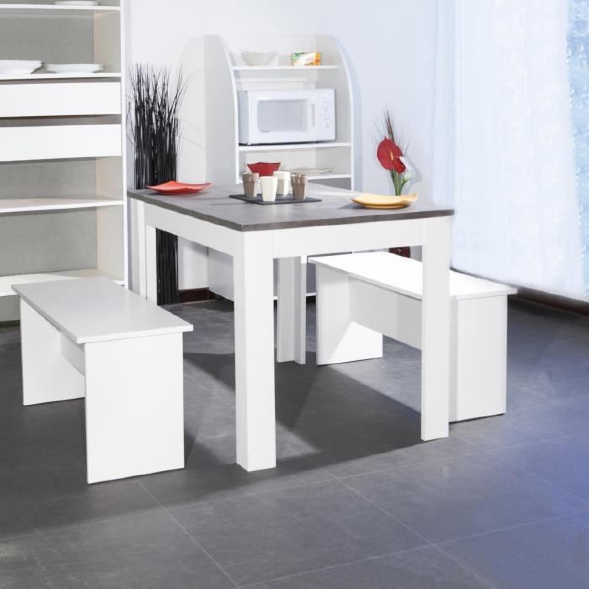 Salt Ensemble Repas Coloris Blanc Et Plateau Béton 3 Pièces 1 Table