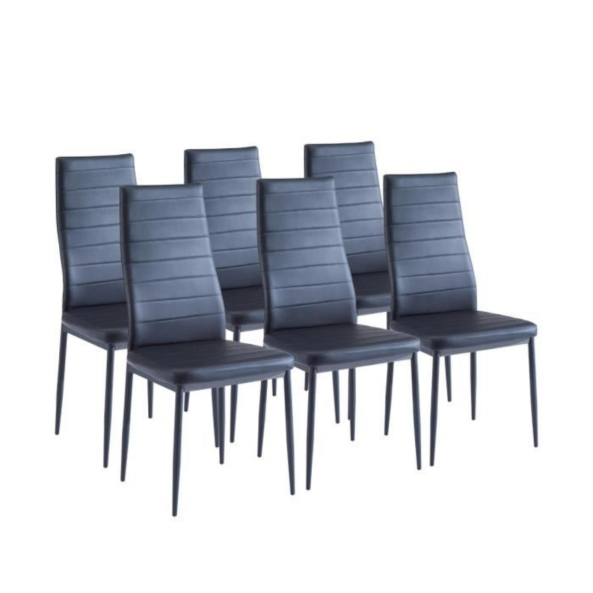 sam lot de 6 chaises de salle manger noires achat. Black Bedroom Furniture Sets. Home Design Ideas