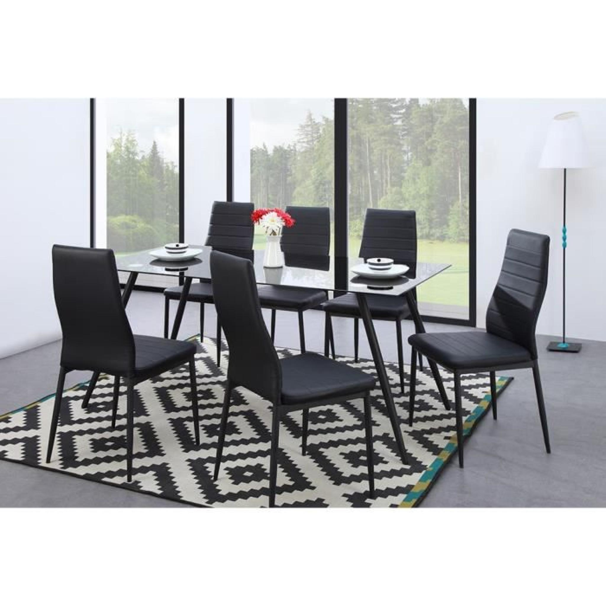 sam lot de 6 chaises de salle manger noires achat vente chaise salle a manger pas cher. Black Bedroom Furniture Sets. Home Design Ideas