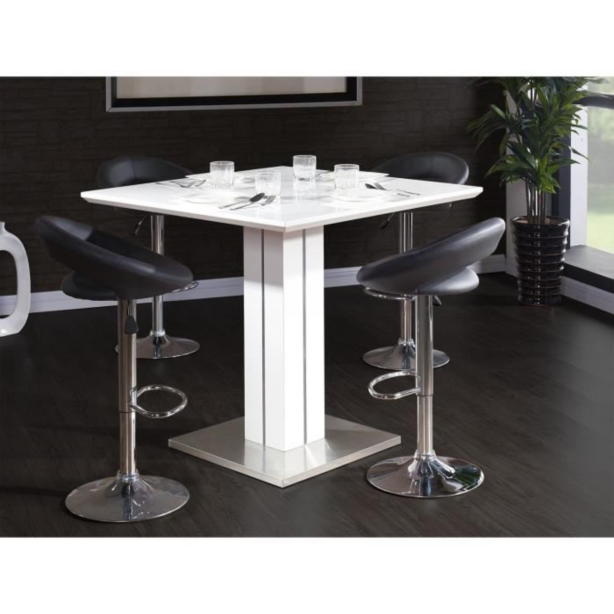Sandro table de bar 100x100cm laqu blanc brillant achat vente table salle - Table bar blanc laque ...