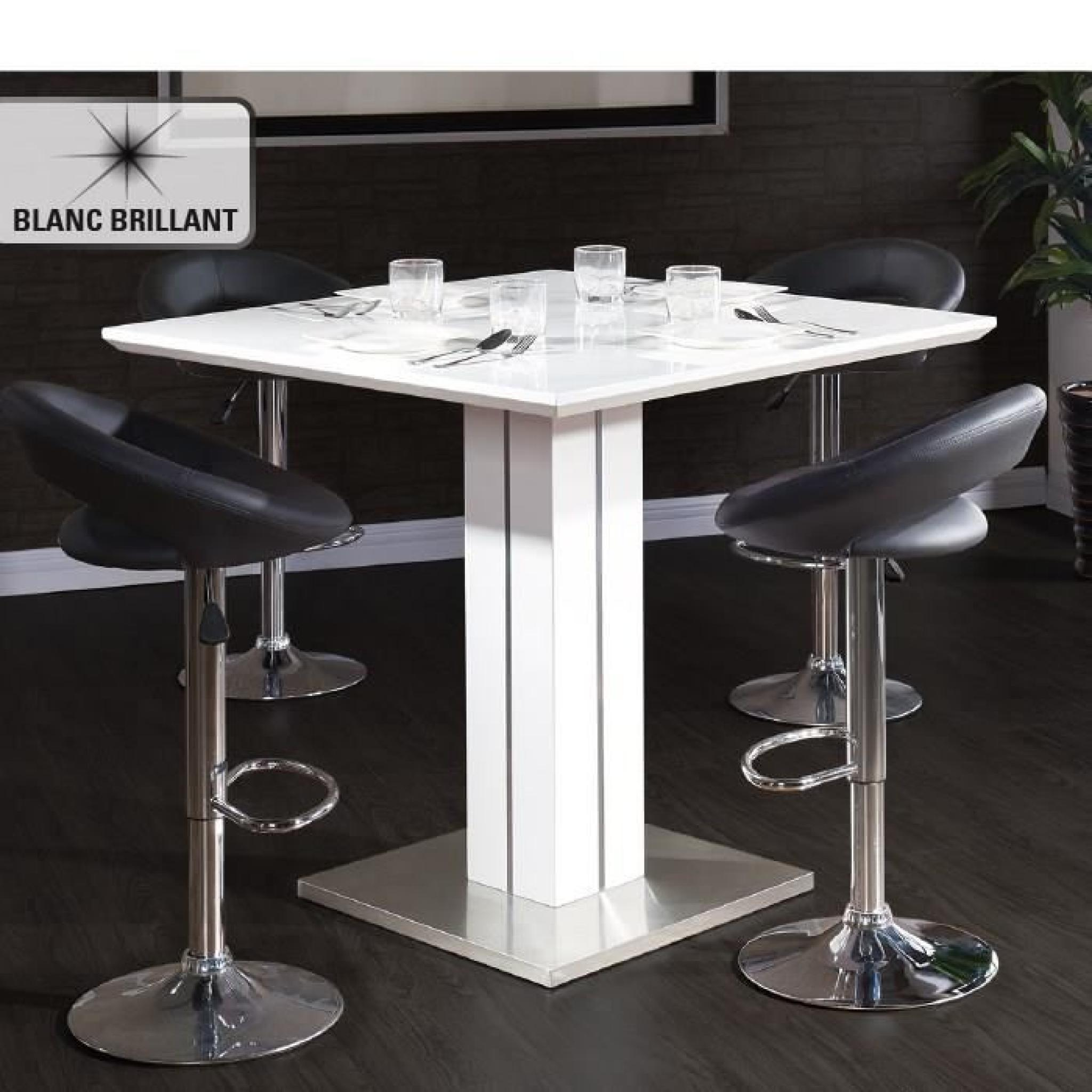 Sandro table de bar 100x100cm laqu blanc brillant achat for Table a manger laque blanc pas cher