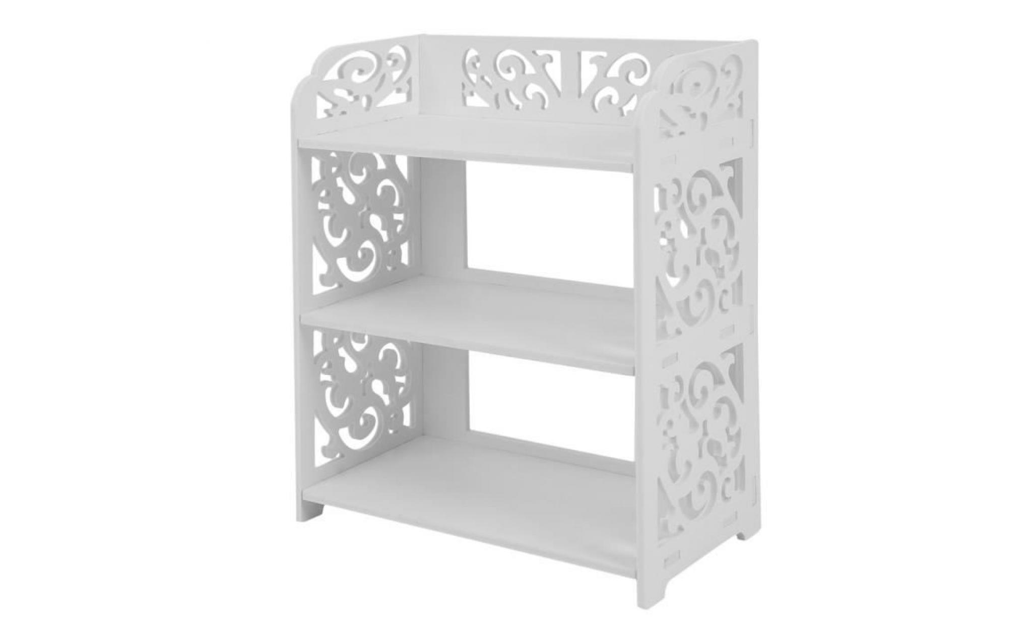 scandinave 2 pcs sculpté étagères de rangement 3 couches en bois plastique - Achat/Vente meuble ...