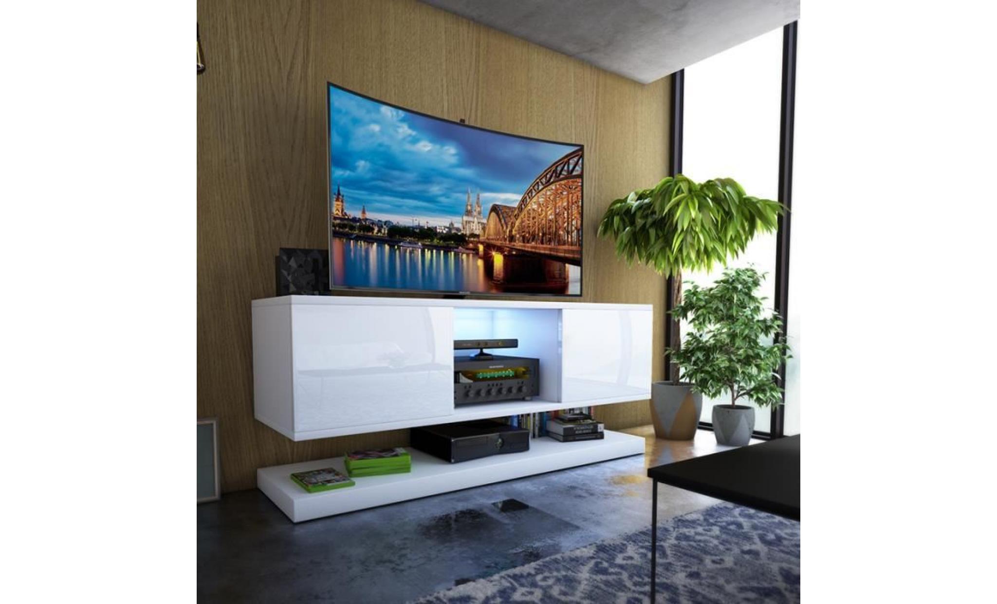 meuble tv / meuble salon wizz 140 cm blanc mat / blanc brillan avec led  style moderne meuble tv suspendu