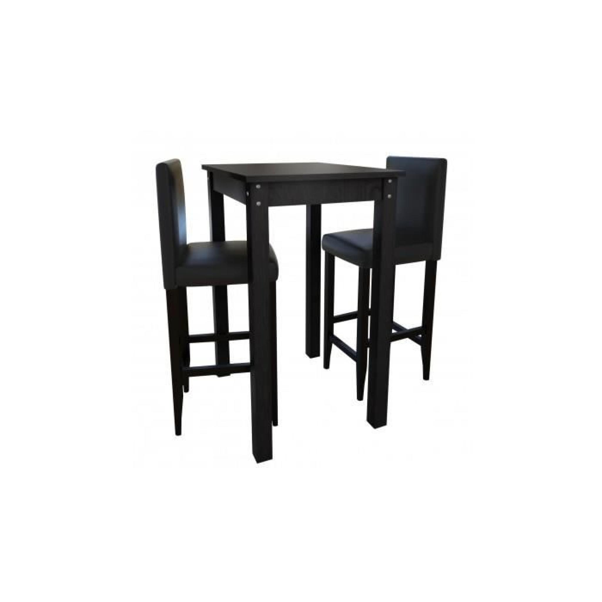 set de 1 table et 2 tabourets noir achat vente table. Black Bedroom Furniture Sets. Home Design Ideas