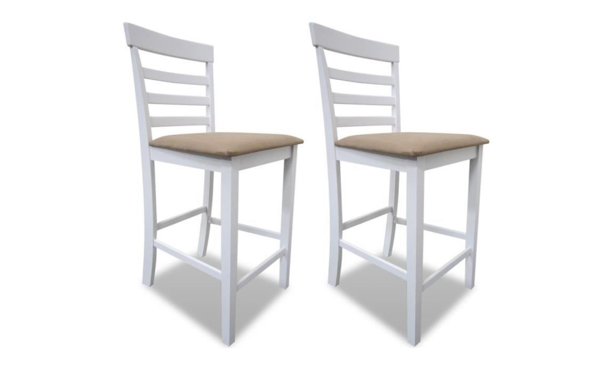 set de 6 chaises de bar en bois blanc/beige durable solide stable dans  salon bistrot haute qualité