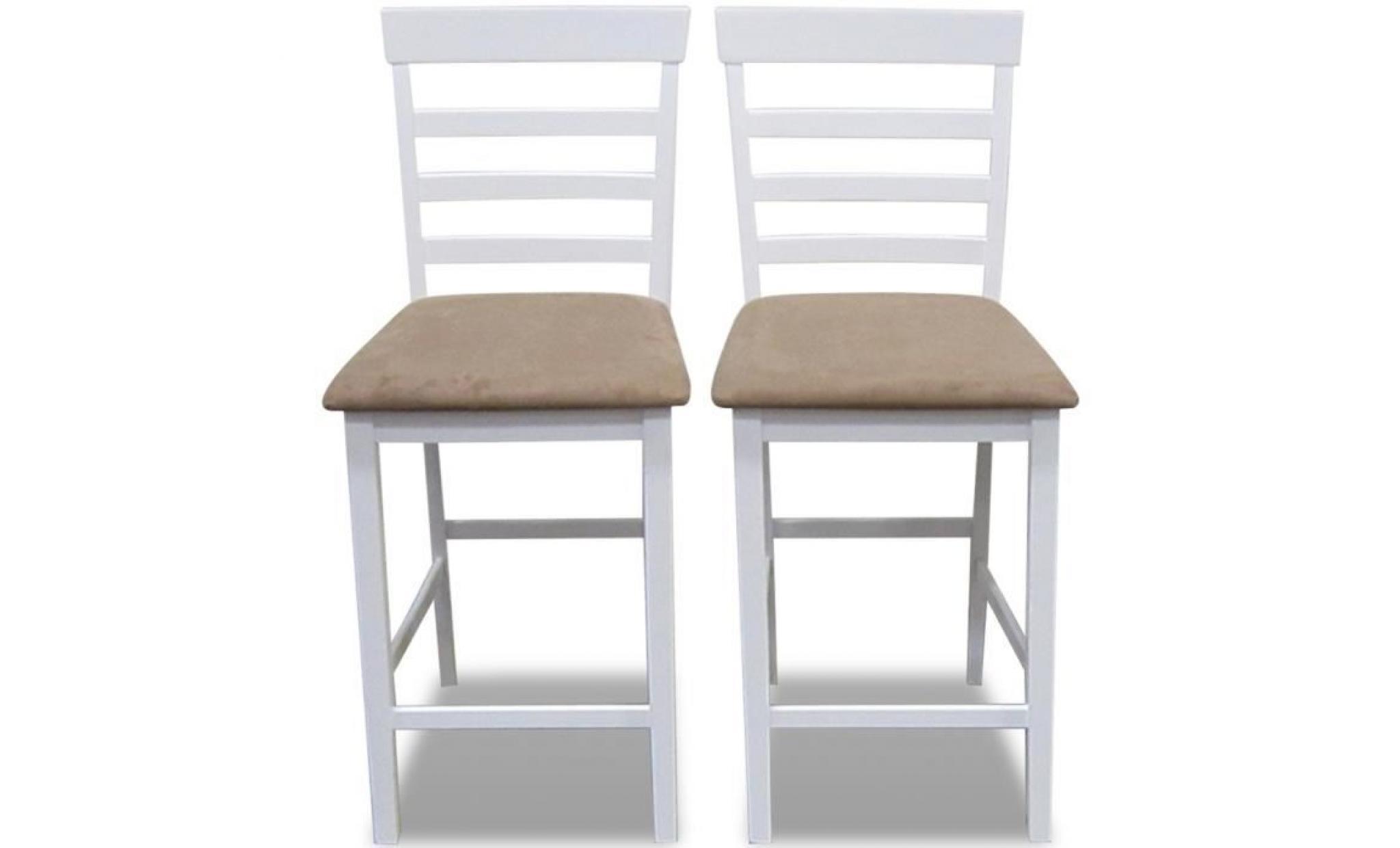 Set De 2 Chaises De Bar En Bois Blanc Beige Durable Solide Stable Dans Salon Bistrot Haute Qualite