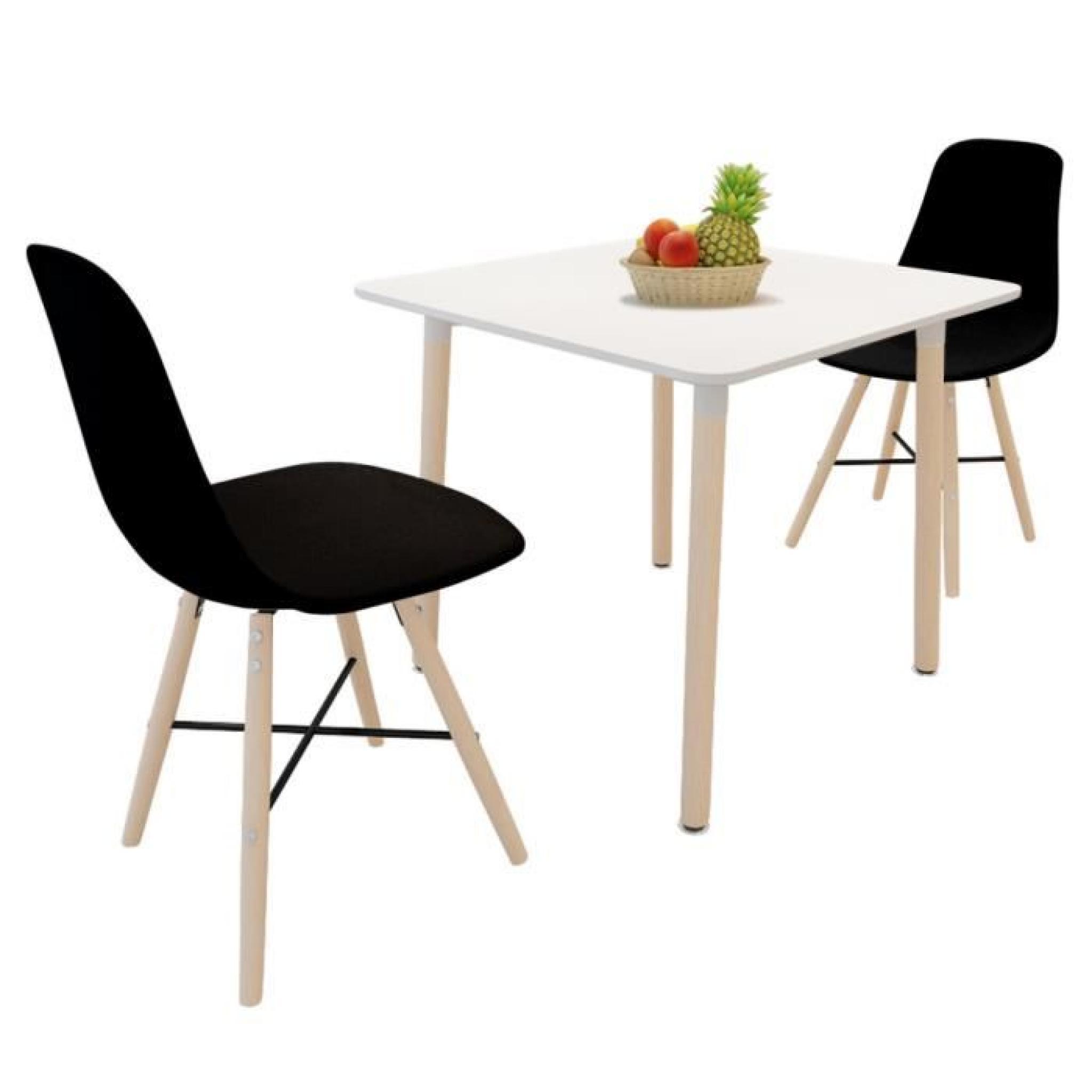 Set de 2 chaises de salle a manger avec pieds en bois noir for Meuble salle À manger avec chaise noir de salle a manger
