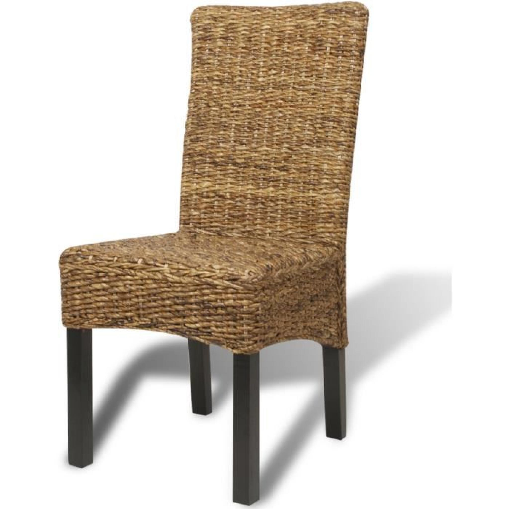 Set de 2 chaises en abaca brun faites la main achat for Chaises salle a manger 2 main