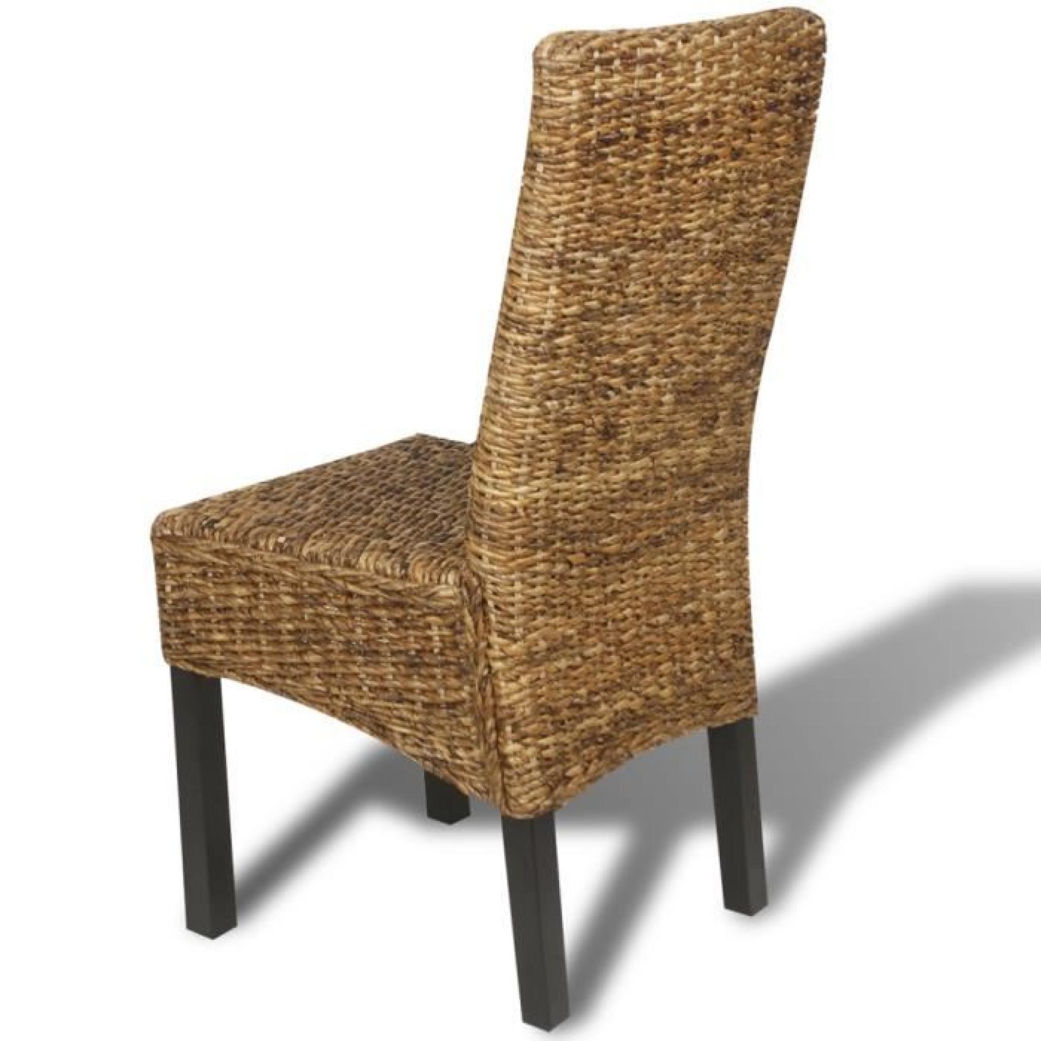 set de 2 chaises en abaca brun faites la main achat vente chaise salle a manger pas cher. Black Bedroom Furniture Sets. Home Design Ideas