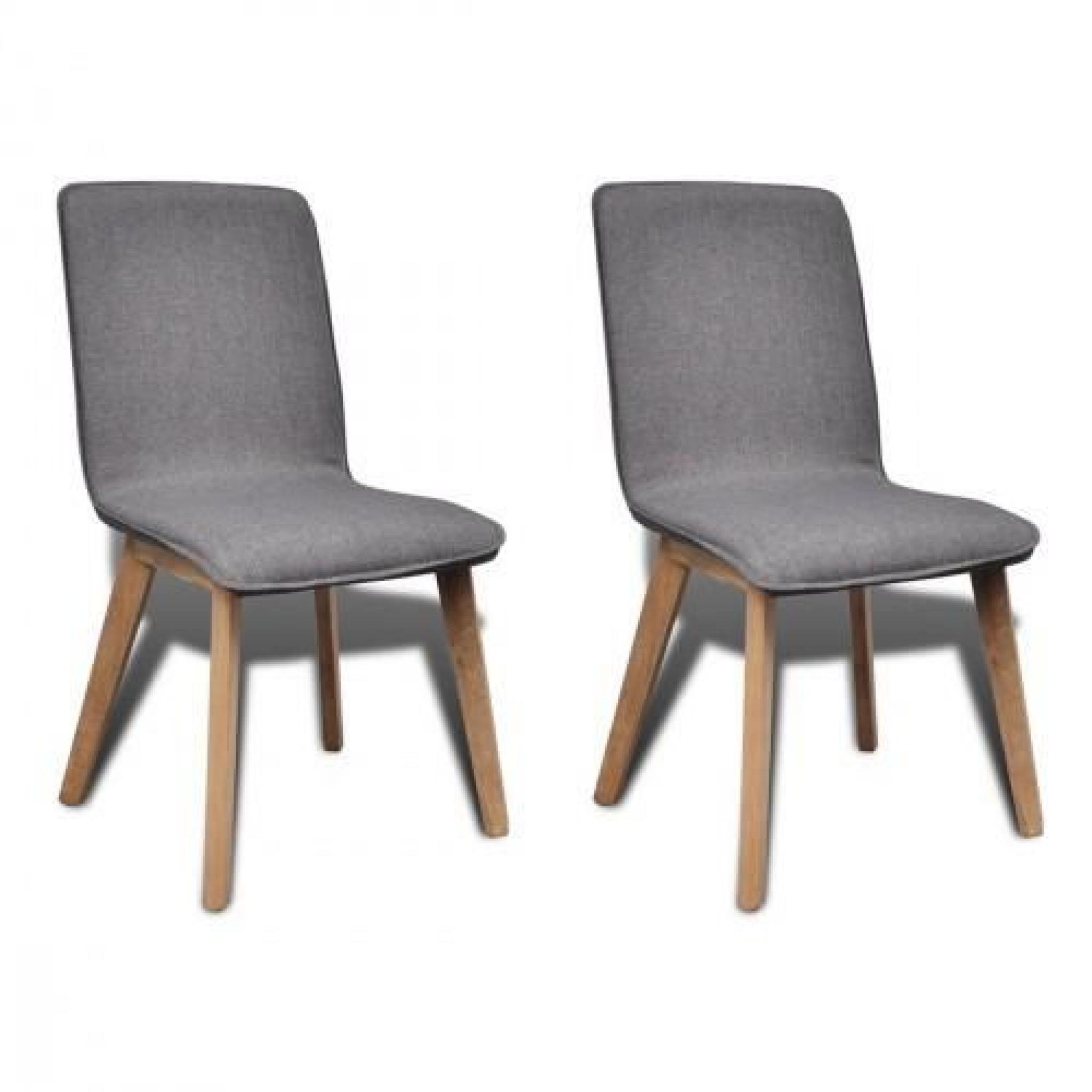 set de 2 chaises gondole pour int rieur en ch ne en tissu gris clair achat vente chaise salle. Black Bedroom Furniture Sets. Home Design Ideas