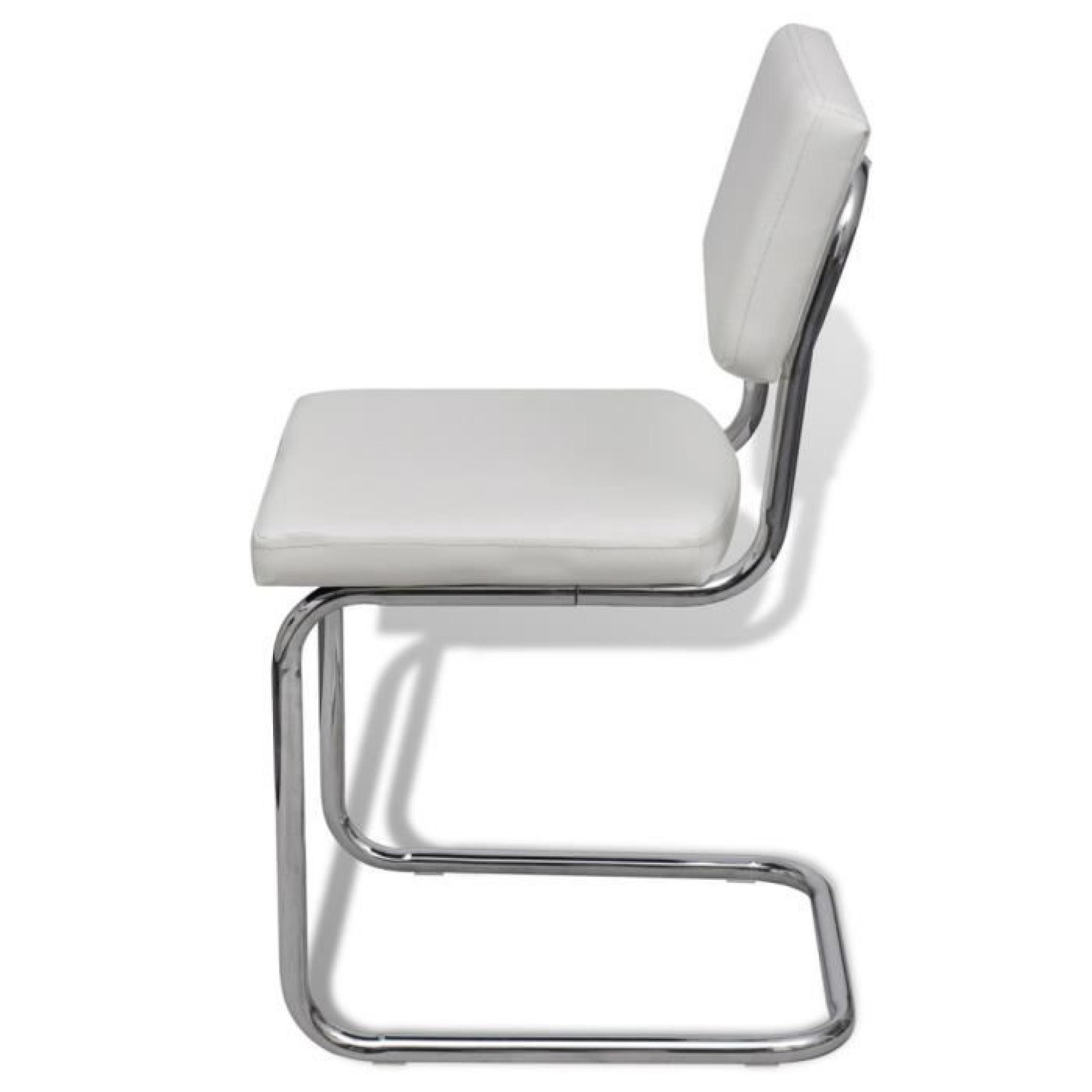 Set De 4 Chaises De Salon Design Et Moderne En Simili Cuir Blanc