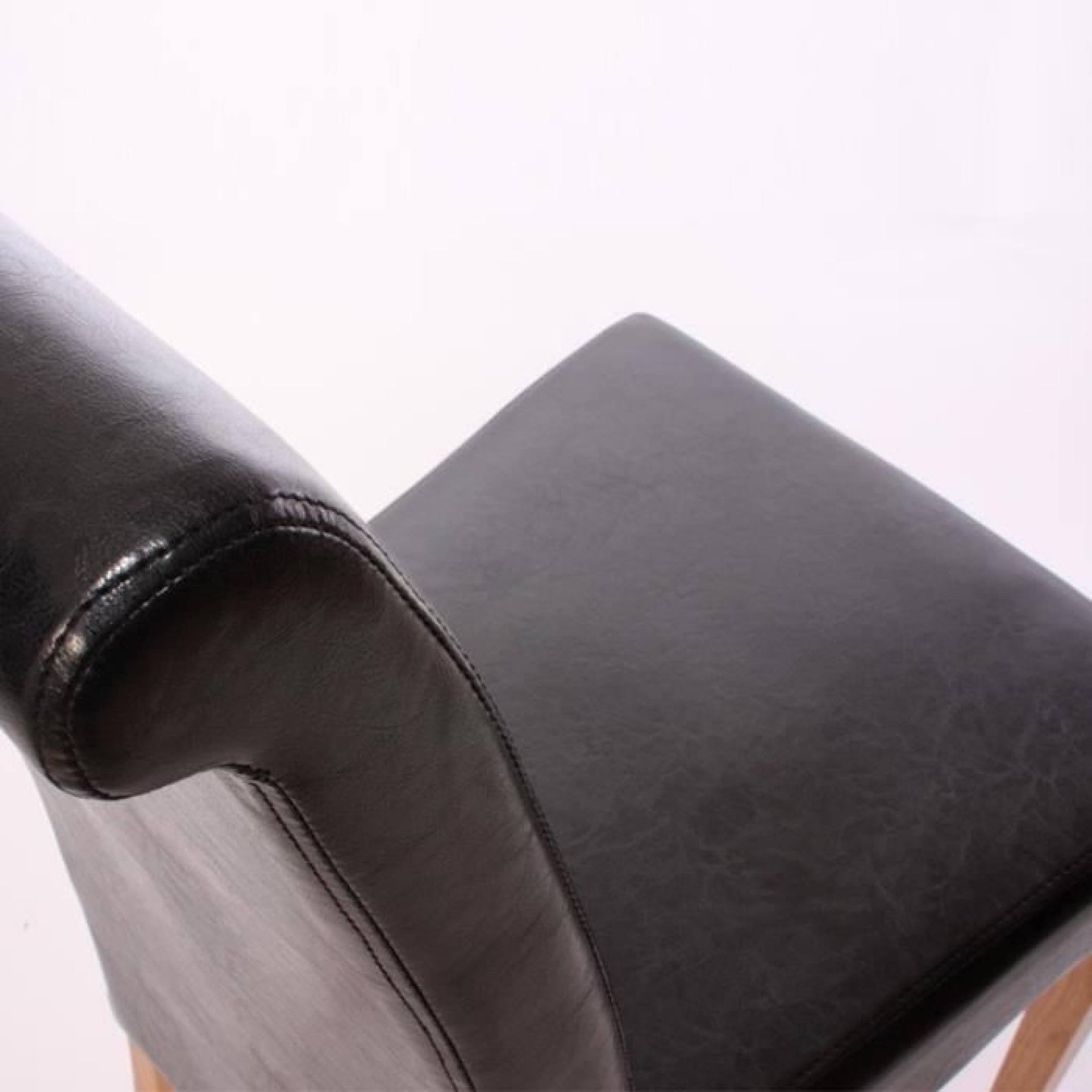 Set de 6 chaises de salle manger en simili cuir noir for Chaise de salle a manger simili cuir noir